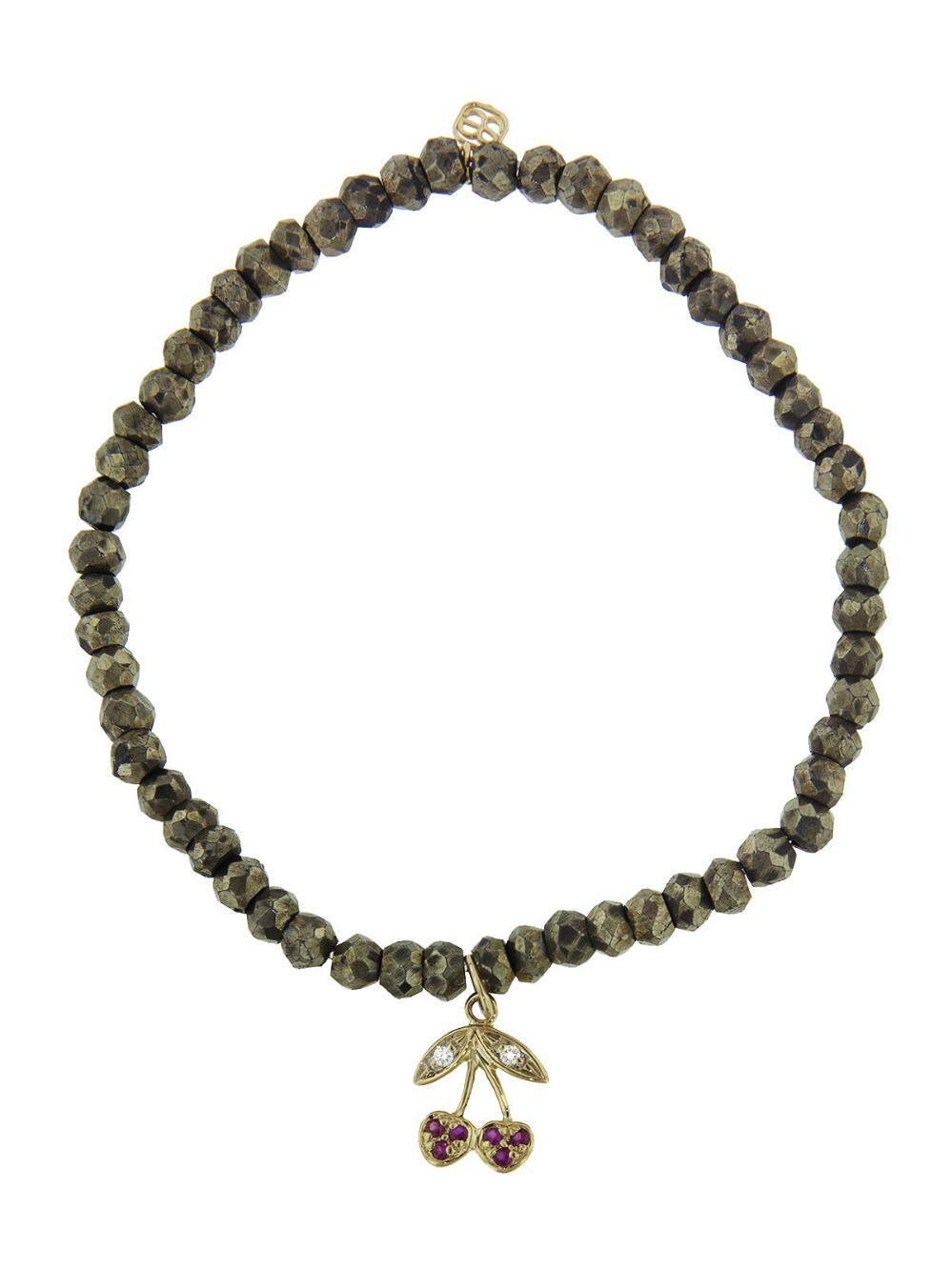 Sydney Evan Pyrite Bead Bracelet with Diamond Lotus Charm CG6R6d6D2
