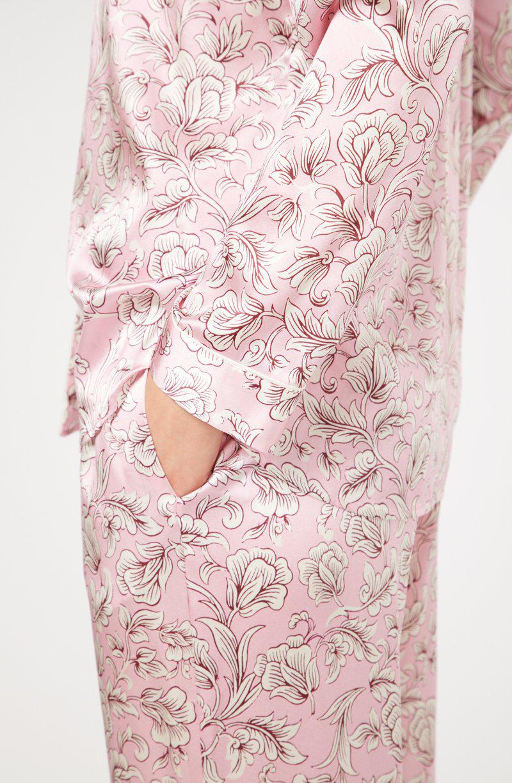 YOLKE Marianne Rose Classic Silk Pyjama Set in Pink - Lyst 3b51e7d4a