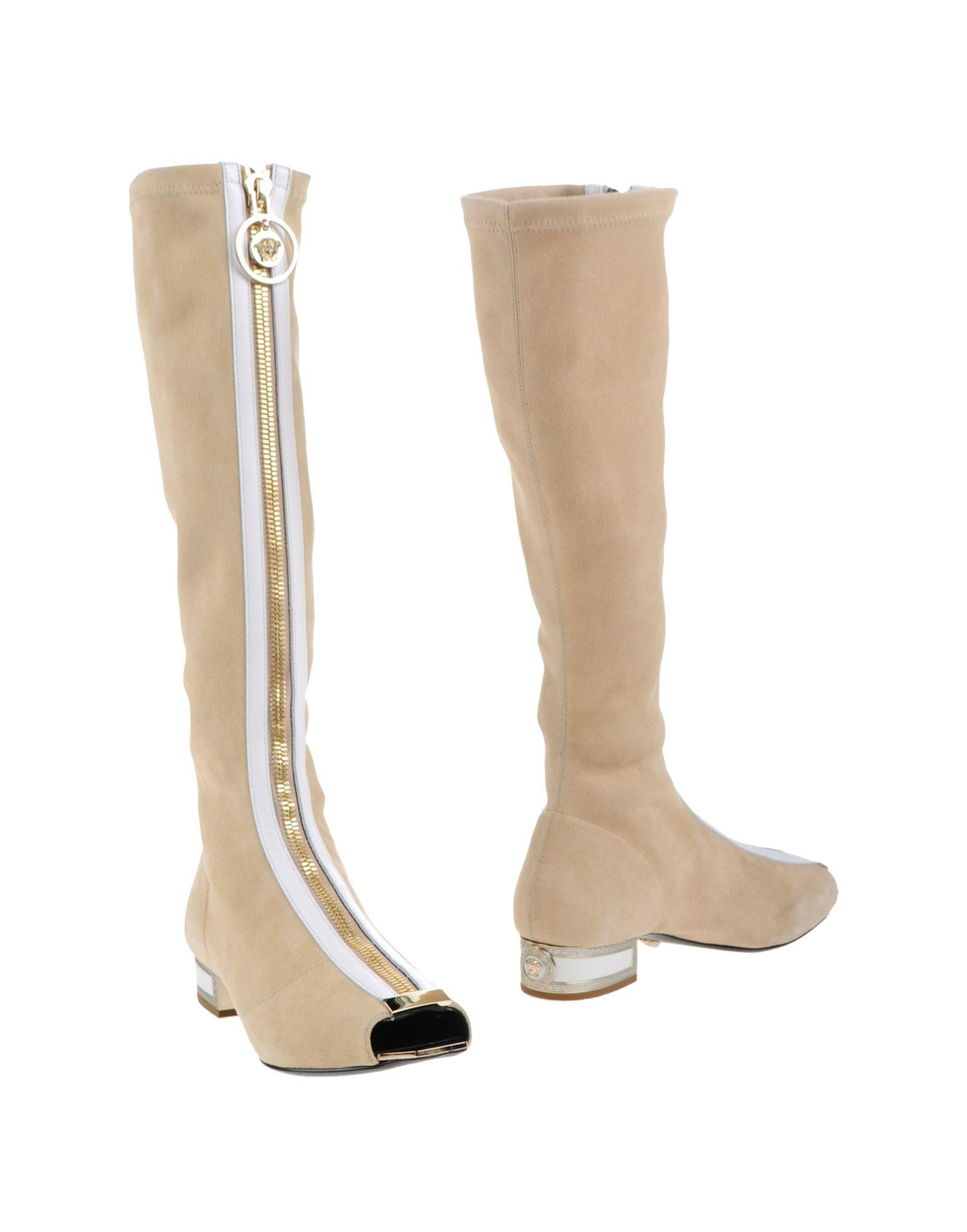 Popular Versace Womens Leather Chain Detail Boots  Letshoesing