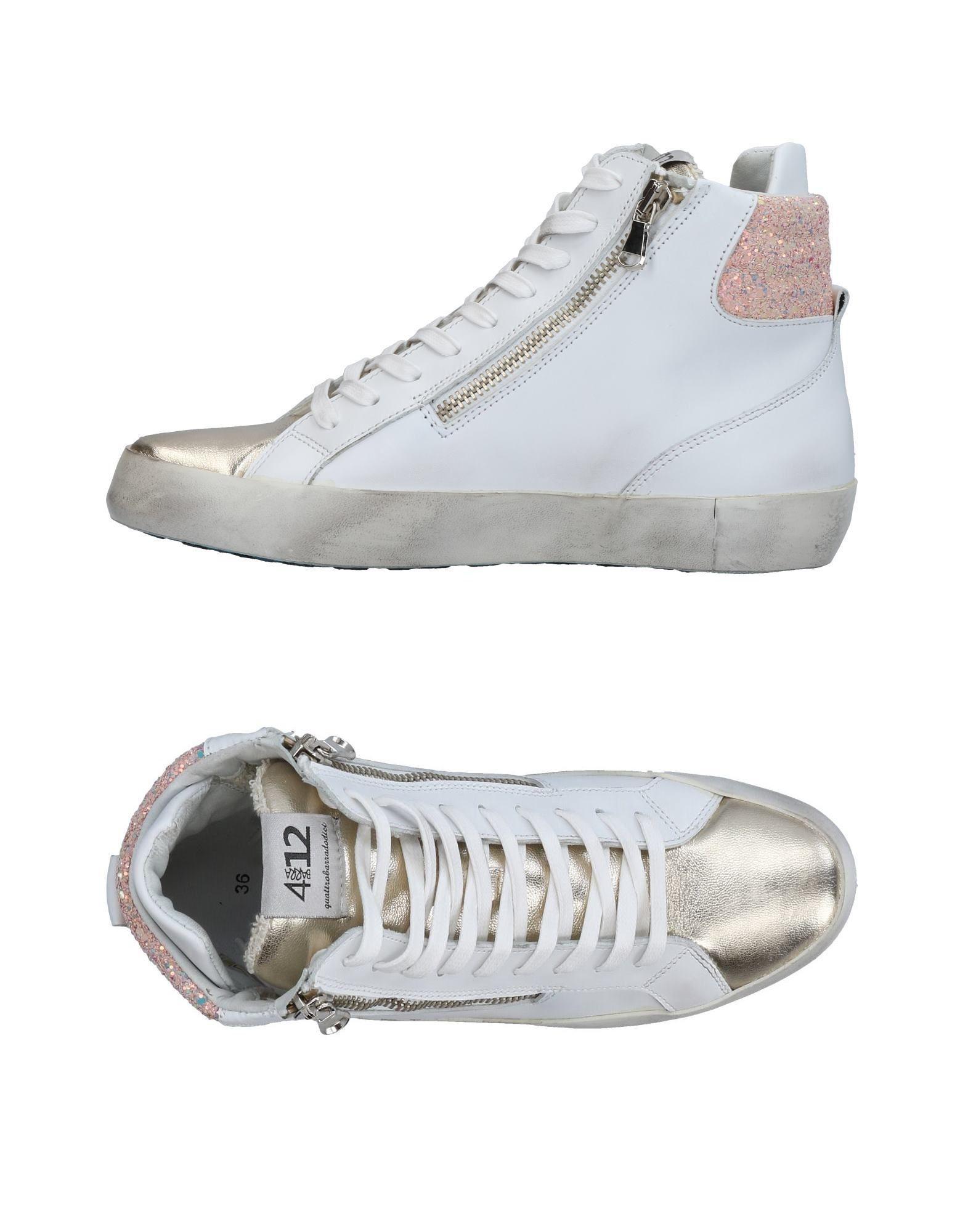 25a46260b827 Sneakers Tennis en Quattrobarradodici Lyst Blanc montantes coloris amp   d1nxqB