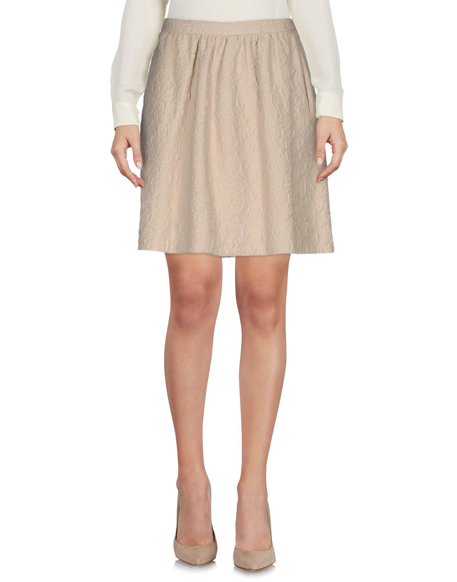 intropia knee length skirt in beige save 16 lyst