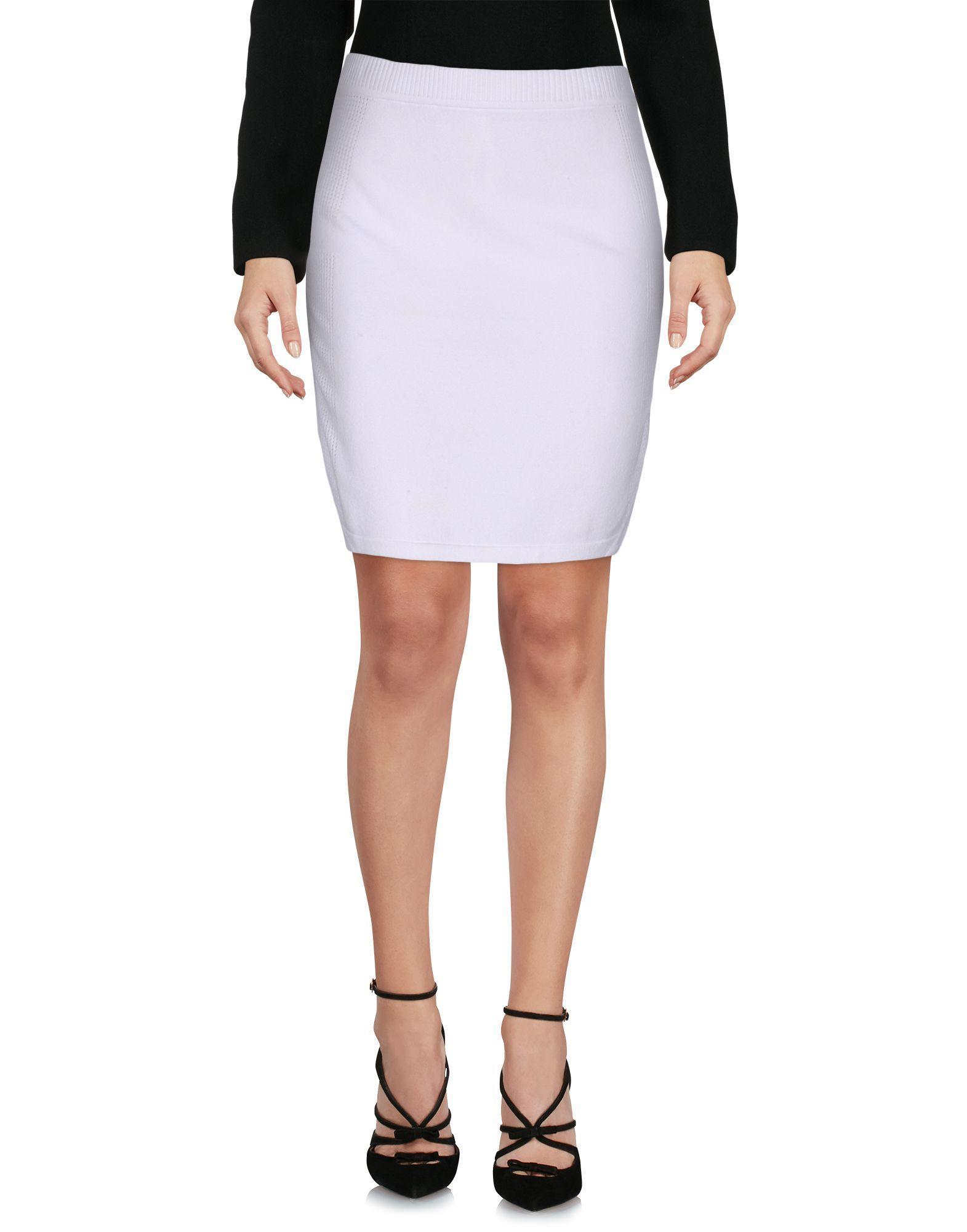 j brand knee length skirt in white lyst