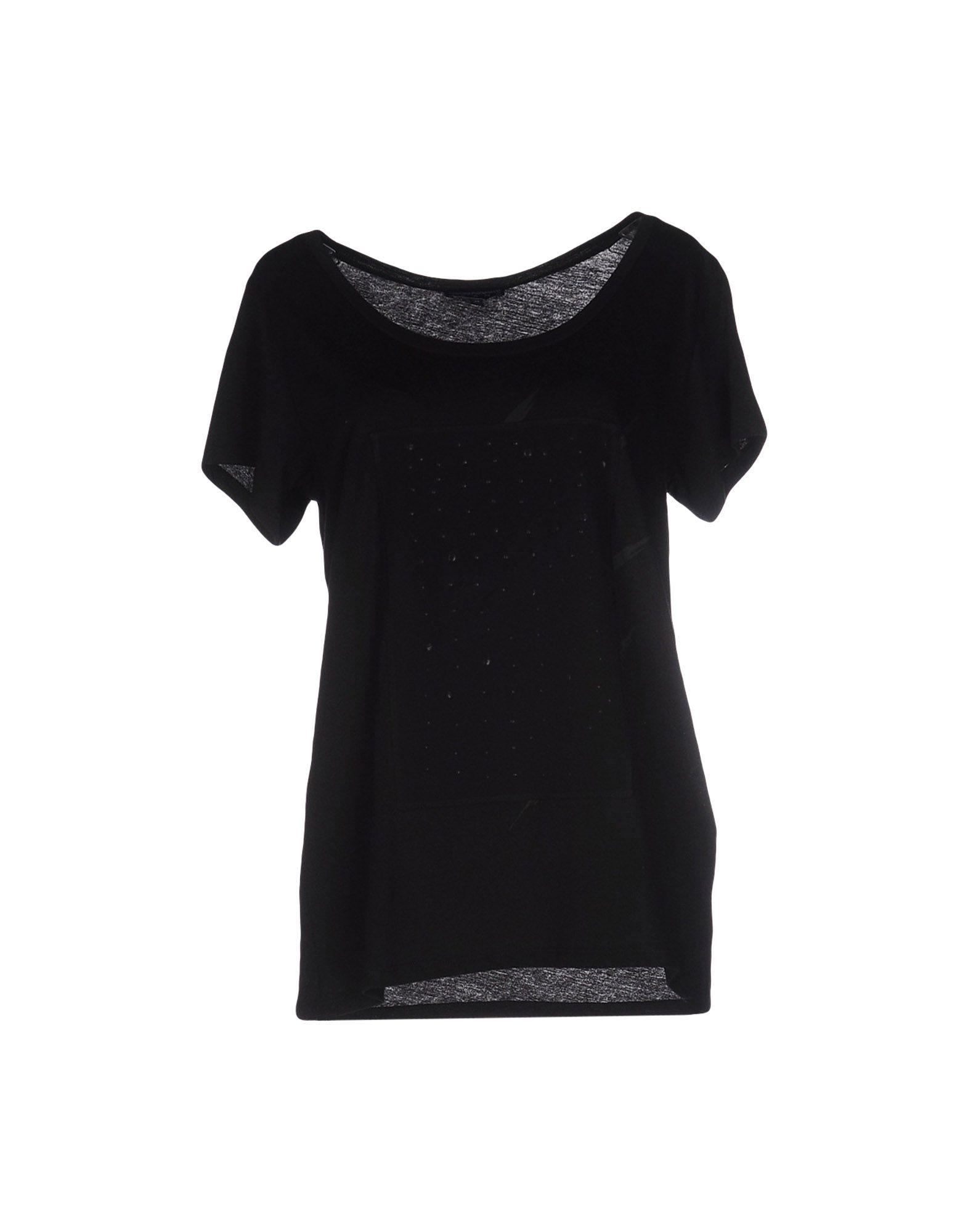 Emporio armani t shirt in black lyst for Black armani t shirt