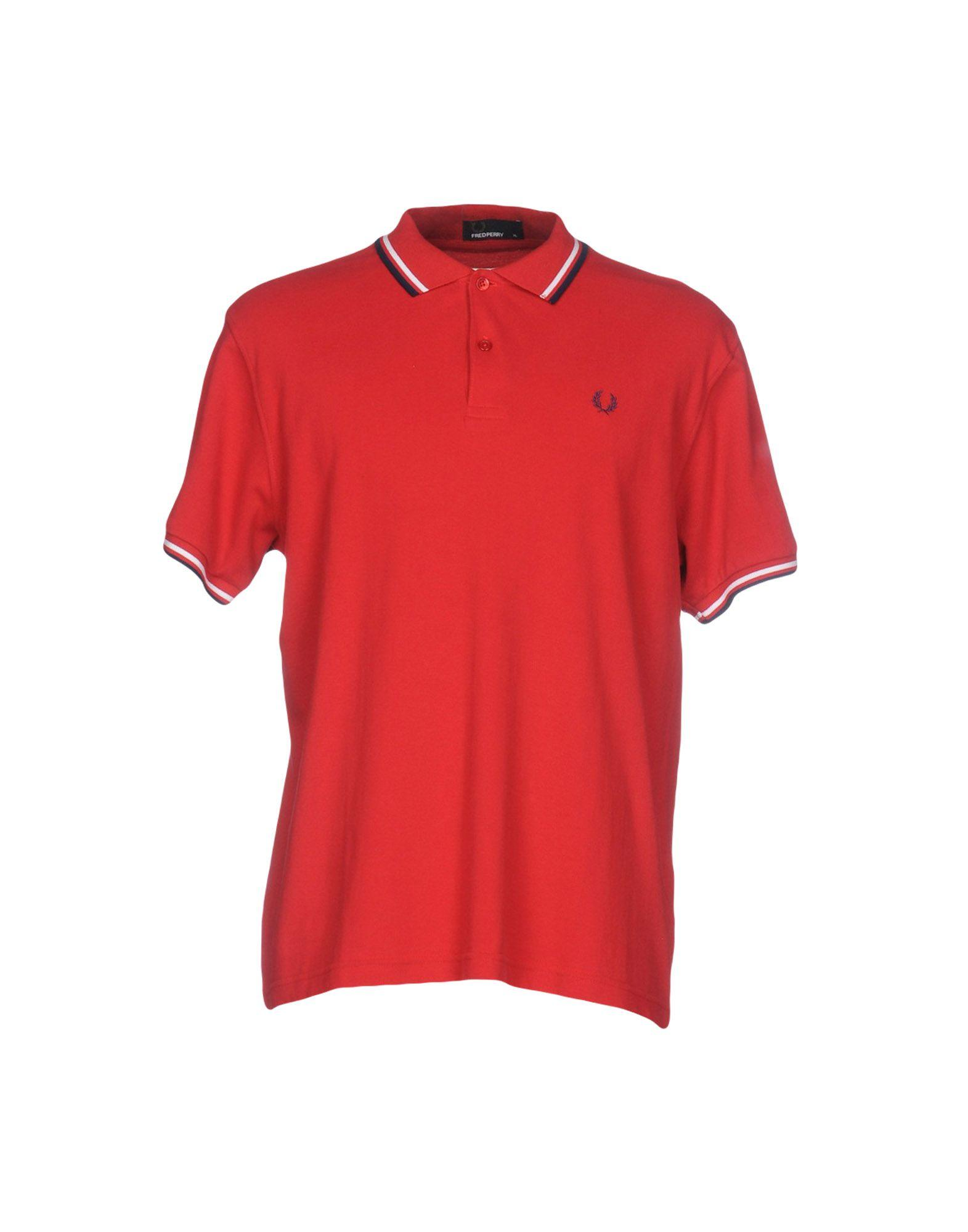 Lyst fred perry polo shirt in red for men for Lands end logo shirts