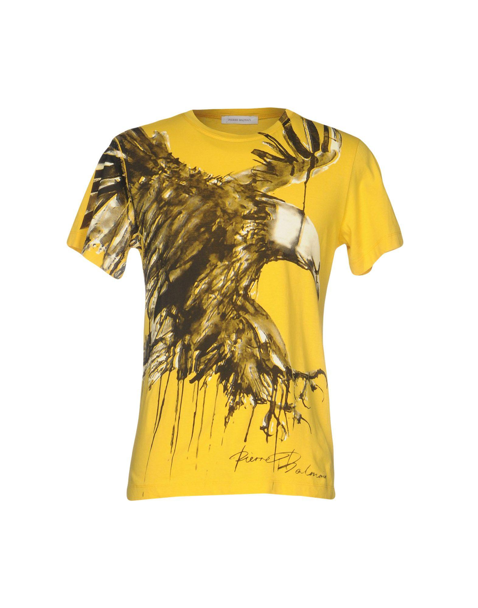 lyst balmain t shirt in yellow for men. Black Bedroom Furniture Sets. Home Design Ideas