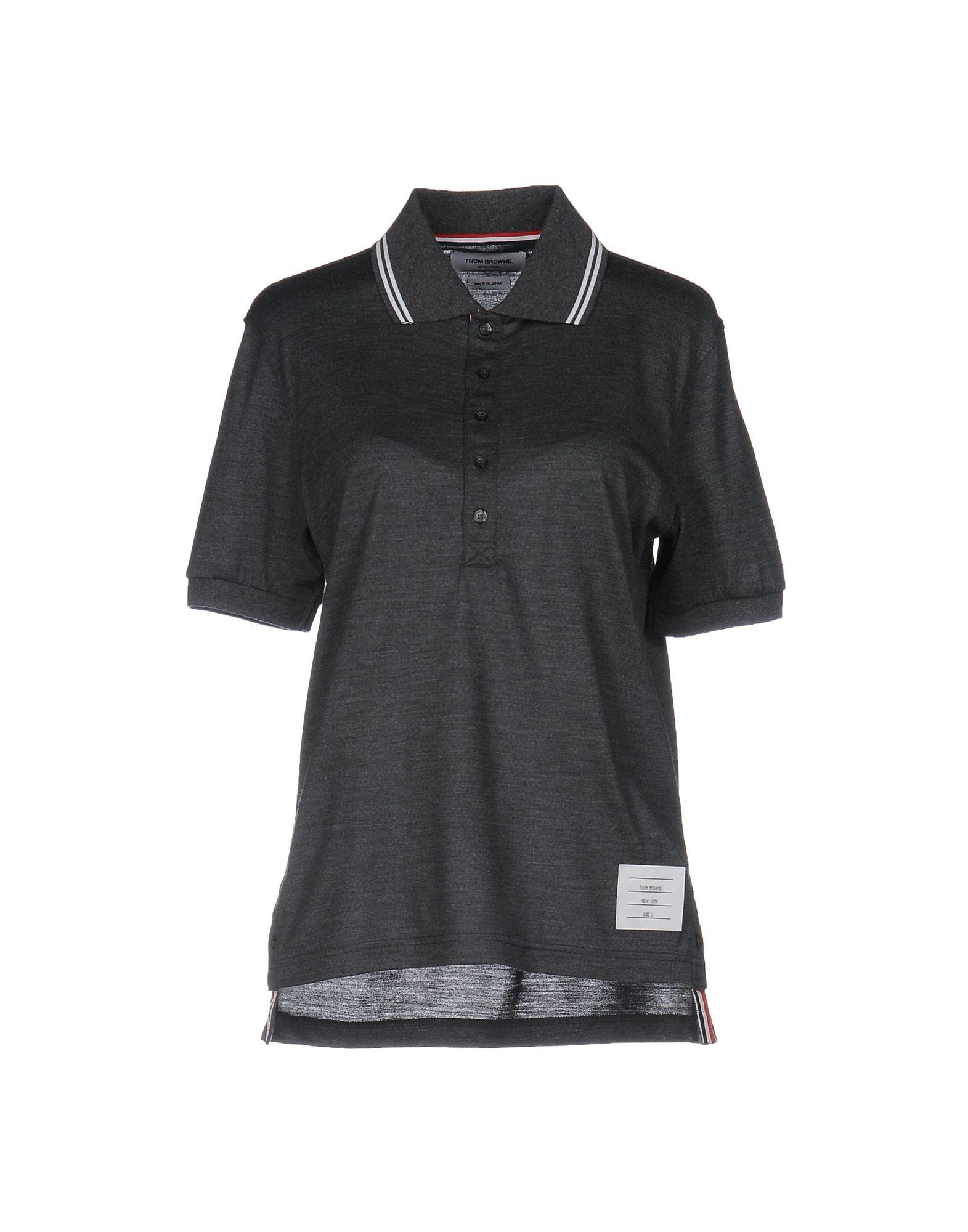Thom browne polo shirt in gray lyst for Thom browne shirt sale