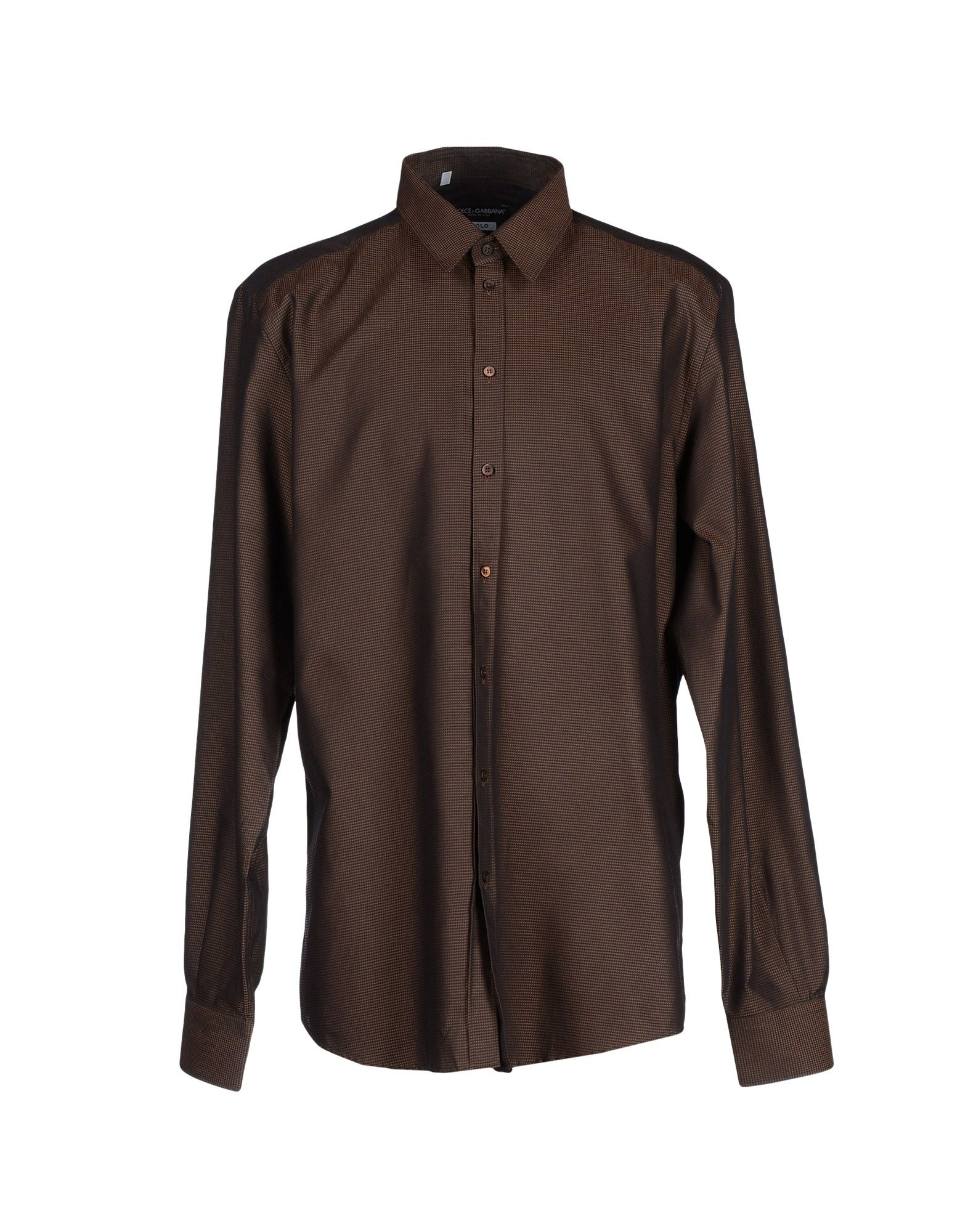 Dolce gabbana shirt in brown for men dark brown lyst for Black brown mens shirts