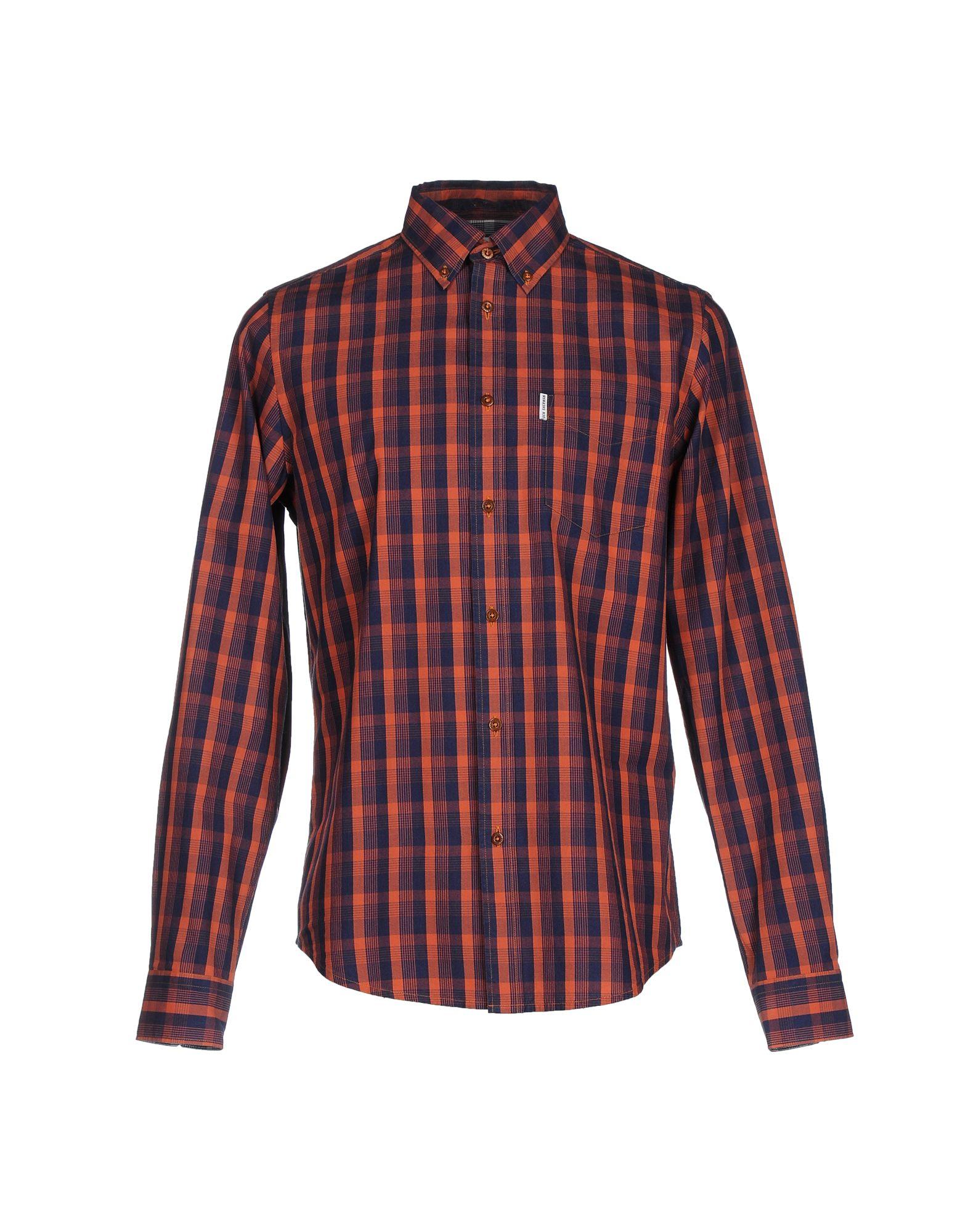 Lyst ben sherman shirt in brown for men for Mens chocolate brown dress shirt