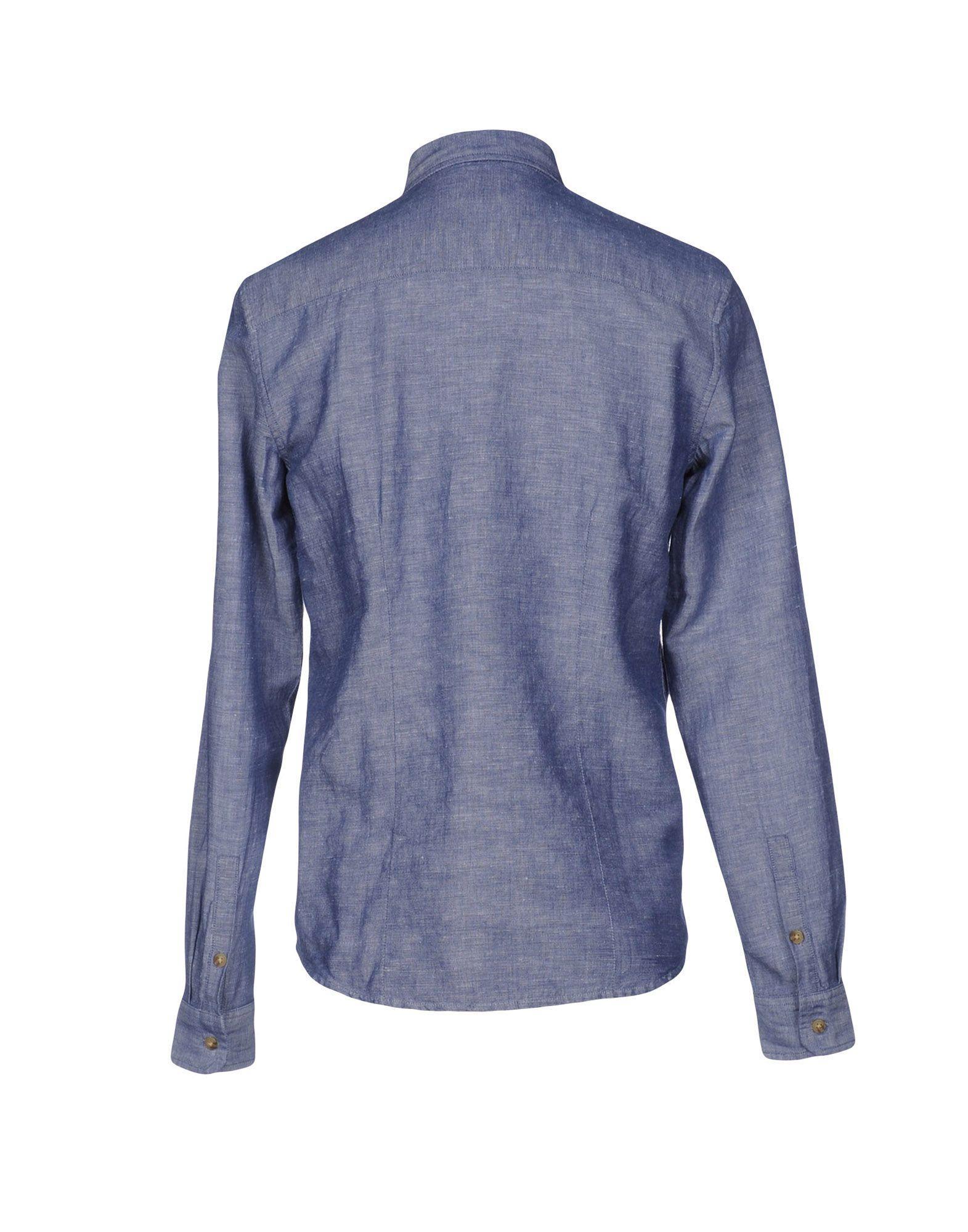 Lyst wrangler shirt in blue for men for Wrangler denim shirts uk