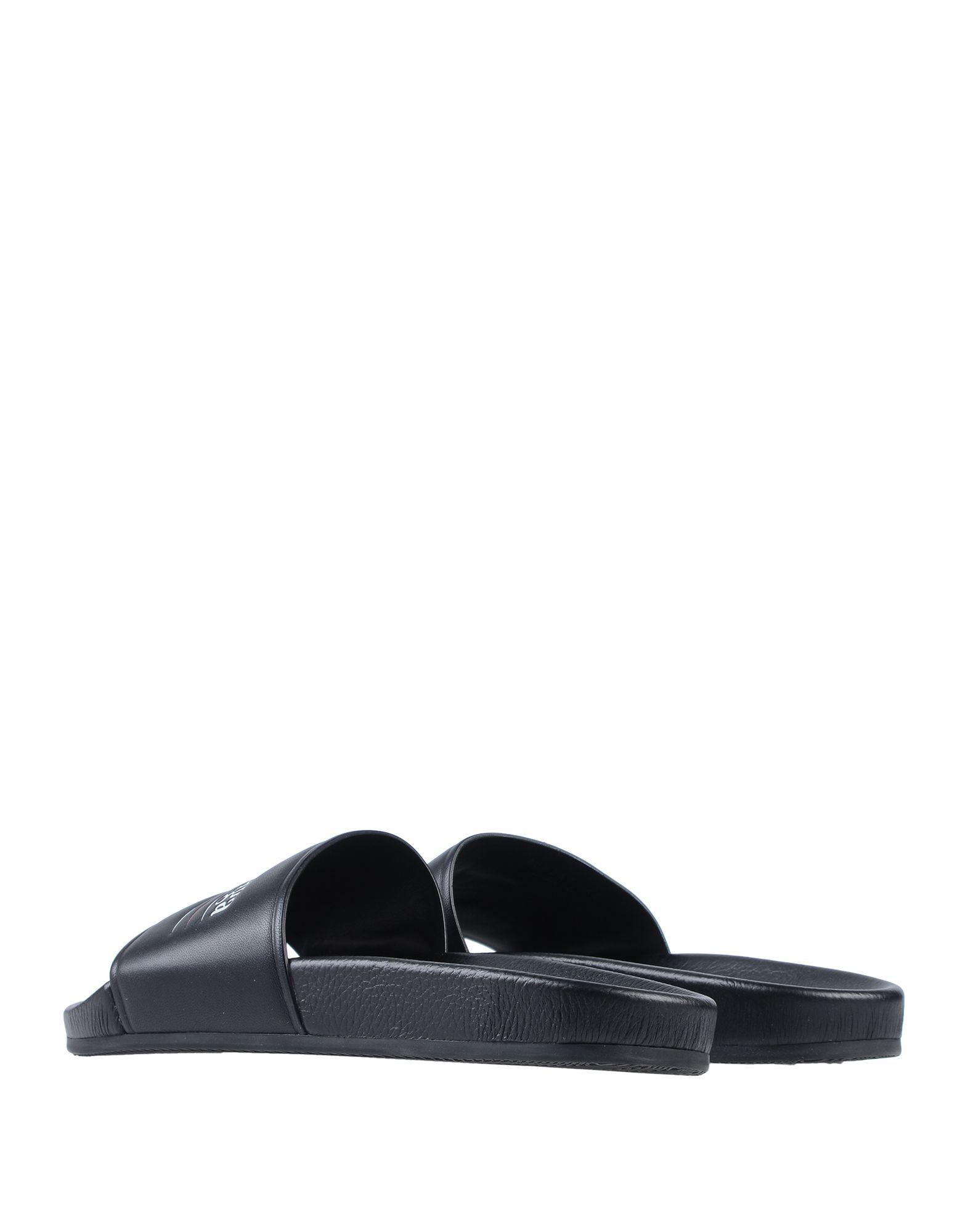 a9ec82df17d0 Balenciaga Logo Print Slides in Black for Men - Save 57% - Lyst