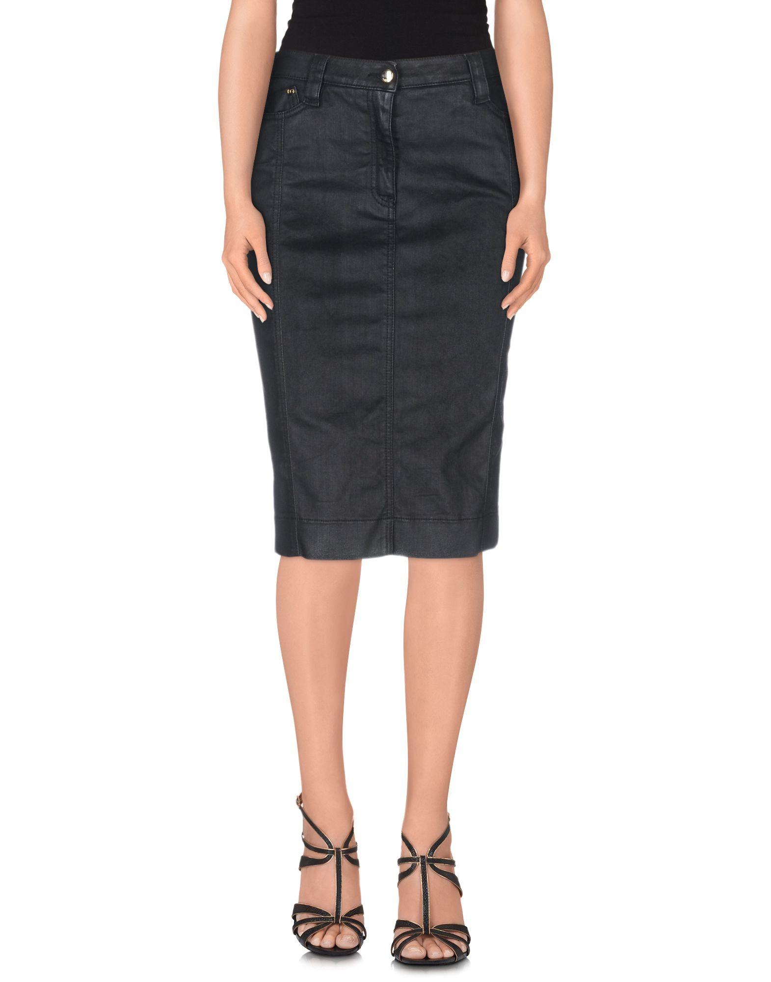 just cavalli denim skirt in black save 16 lyst