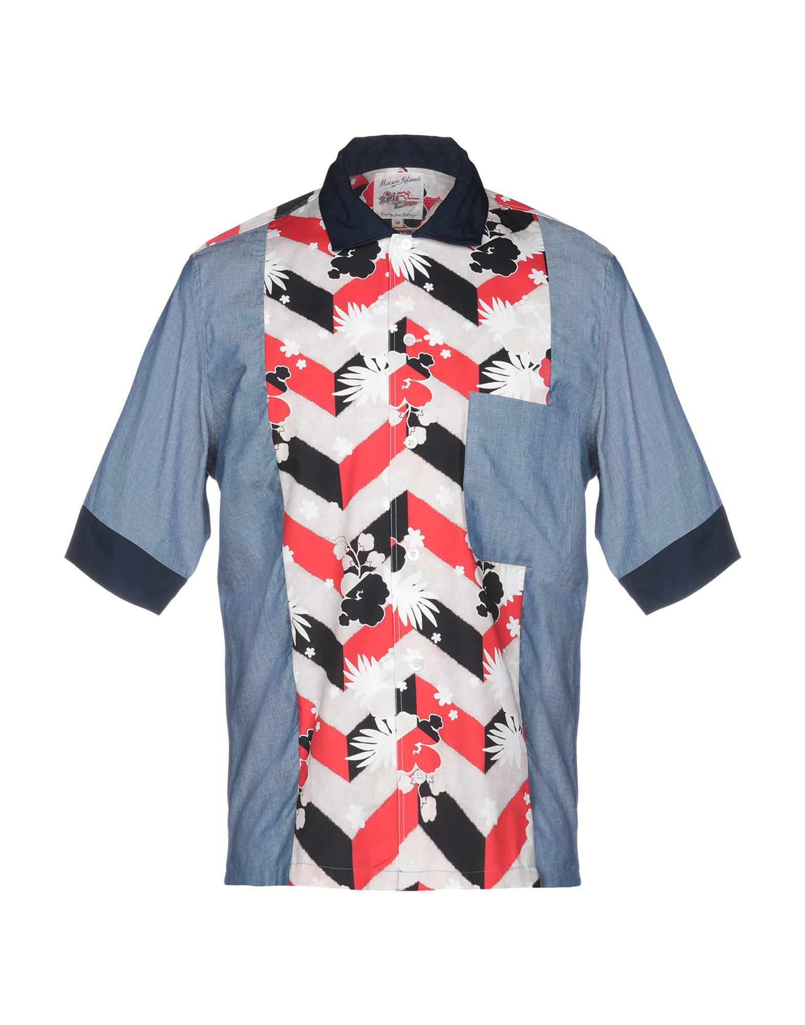 361ab63f7792 Maison Kitsuné. Blue Men s Venice Patched Short Sleeve Shirt. £84 From  YOOX. Free shipping with YOOX on ...