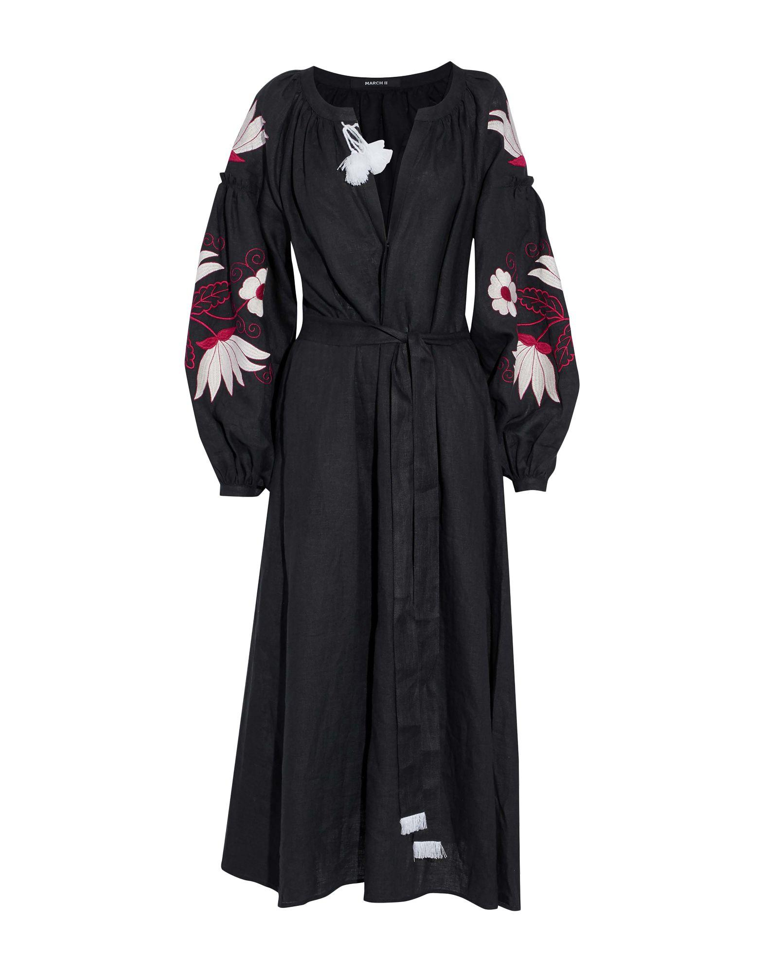 b32c06322c Lyst - MARCH11 Woman Belted Embroidered Linen-gauze Midi Dress Black ...