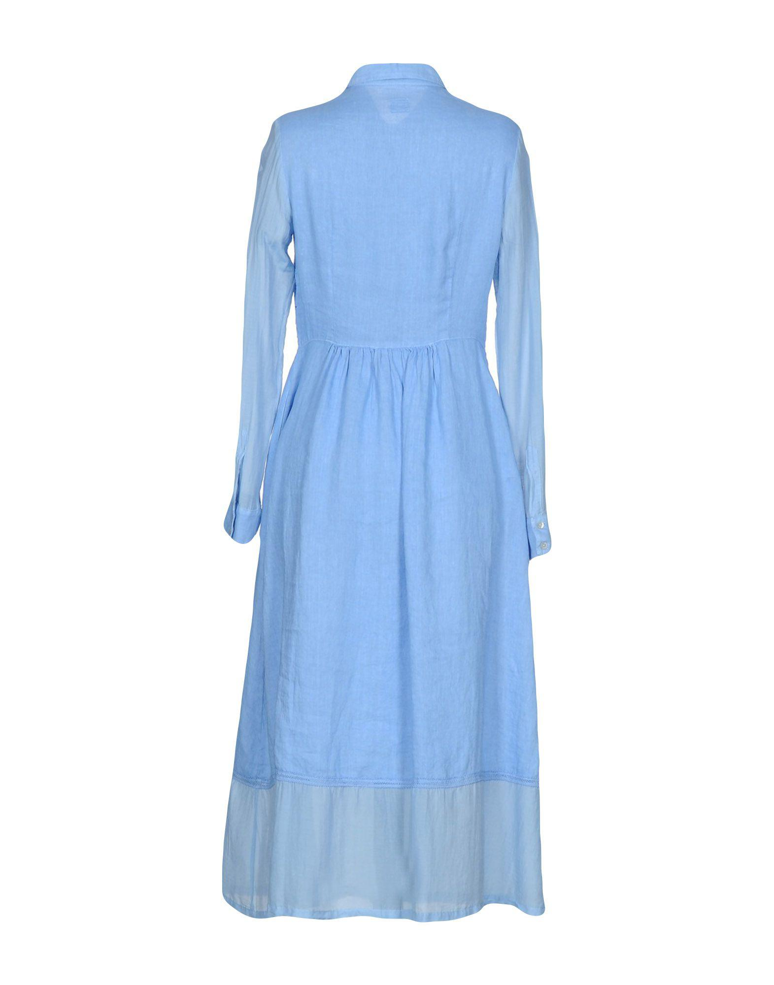9ee01e1ebc Lyst - 120% Lino Long Dress in Blue