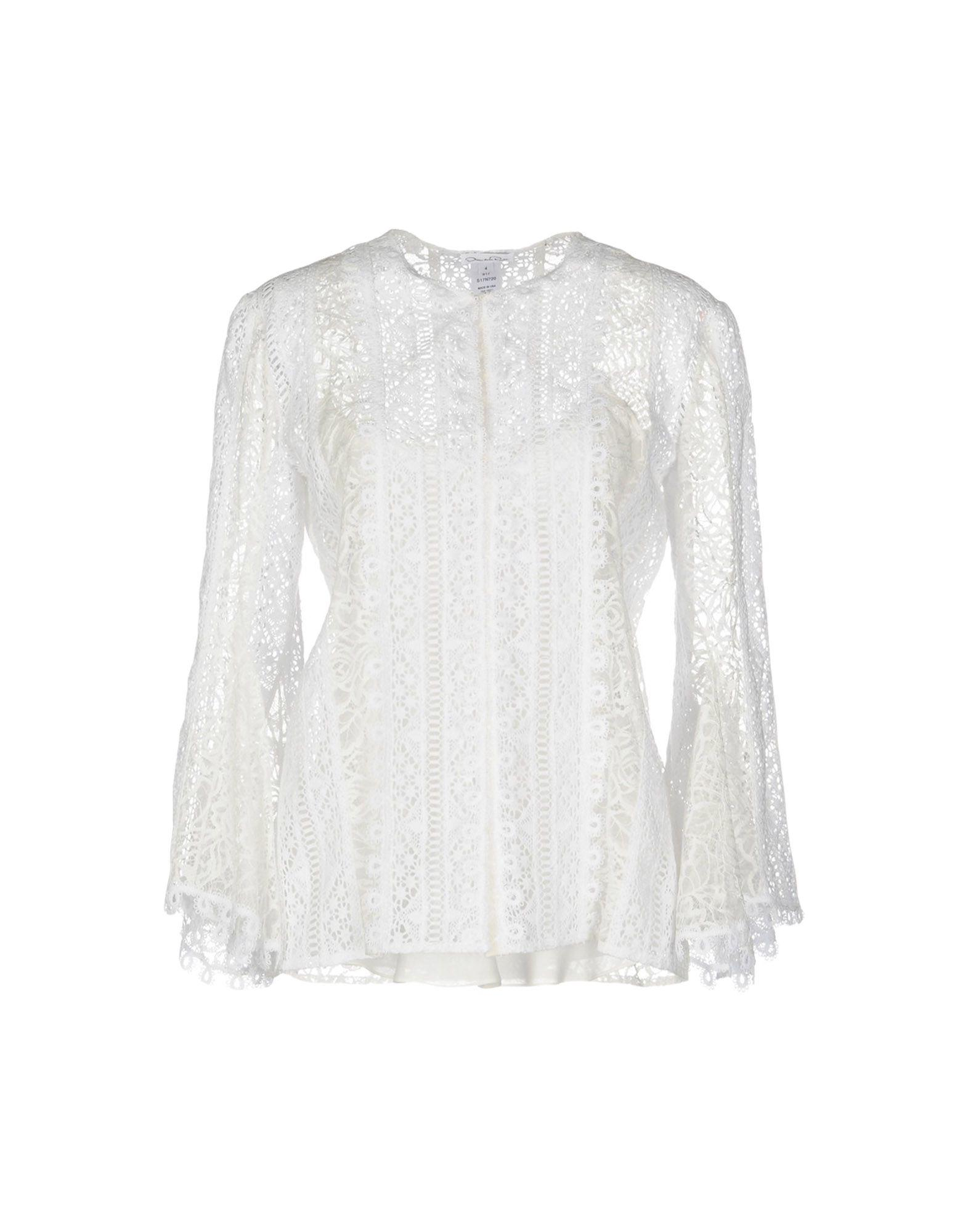 Footaction roll sleeve blouse - White Oscar De La Renta Discounts Cheap Price Free Shipping Hot Sale Sale Online scIVlfKWg2