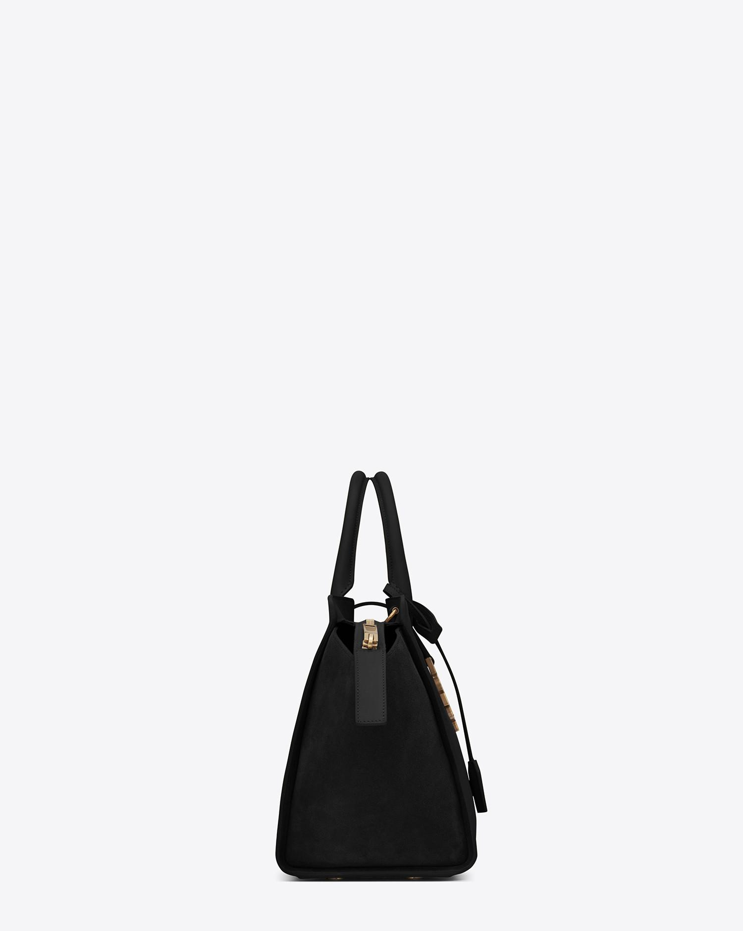 2b60d1dc11e1 Lyst - Saint Laurent Small Monogram Downtown Cabas Leather And Suede Tote  Bag in Black