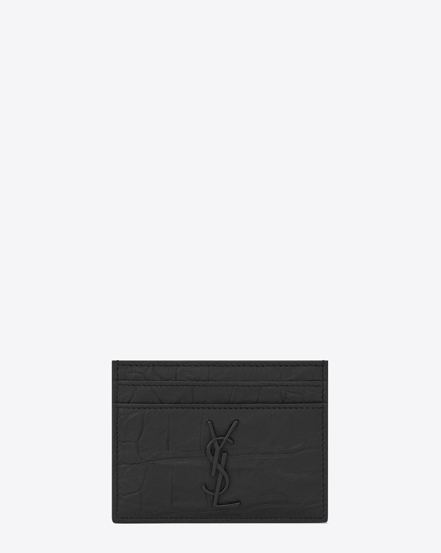 33a230037f1b Saint Laurent. Men s Black Monogram Card Case In Crocodile Embossed Leather