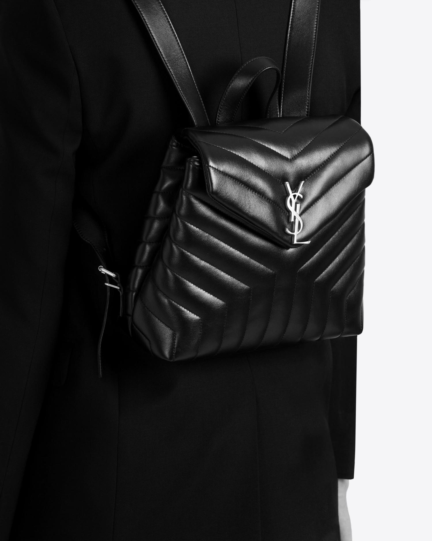fde706601774 Saint Laurent - Black Loulou Small Backpack In Matelassé