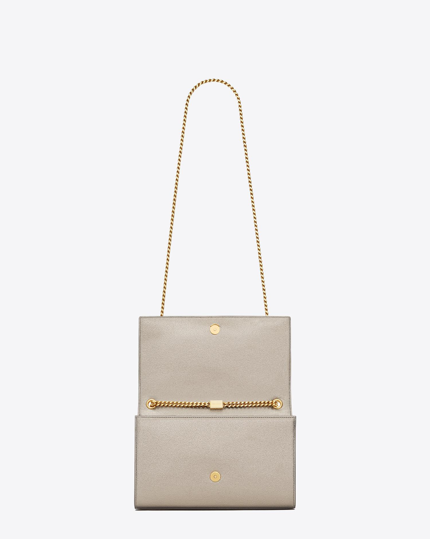 Lyst - Saint Laurent Classic Medium Kate Satchel In Pale Gold Grained  Metallic Leather in Metallic feec8291d5727
