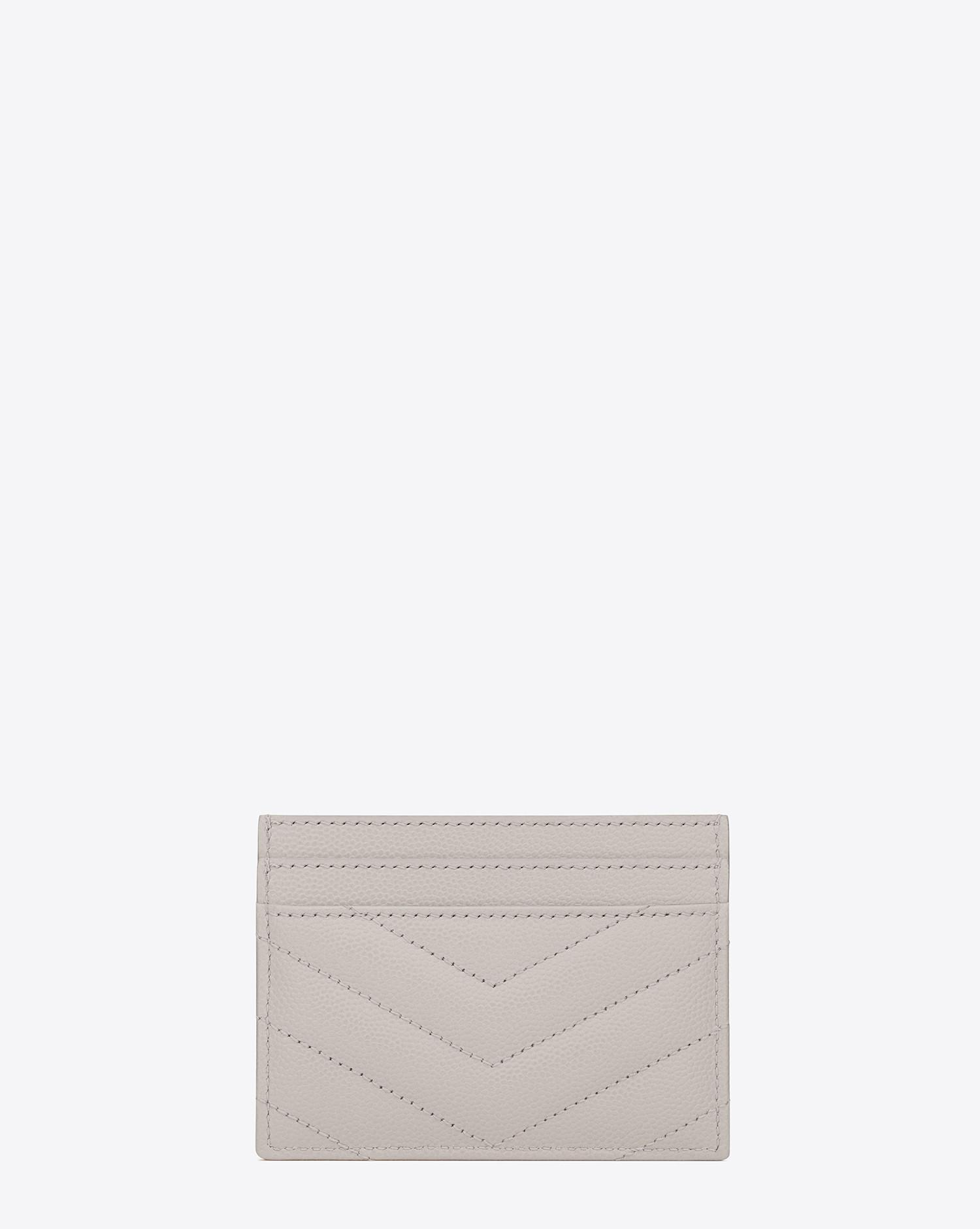 Lyst - Saint Laurent Monogram Card Case In Grain De Poudre Embossed Leather  in White 387542384cd4d