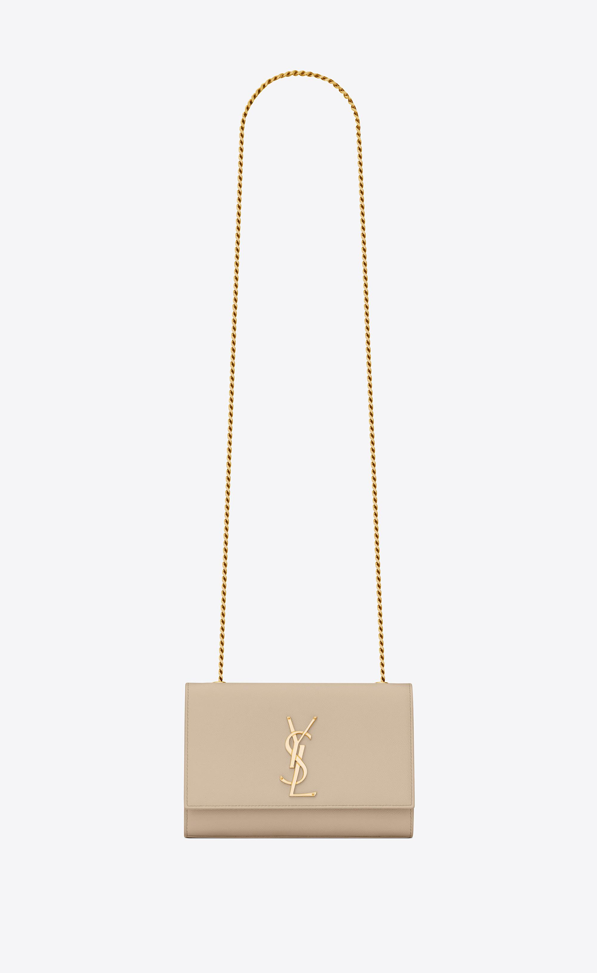 cca143634128 Lyst - Saint Laurent Small Kate Chain Bag In Powder Textured Leather