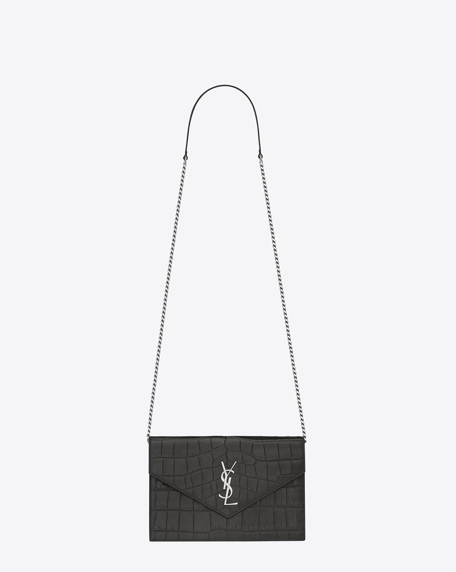 cf04501f2fca Saint Laurent Envelope Chain Wallet In Dark Anthracite Crocodile ...