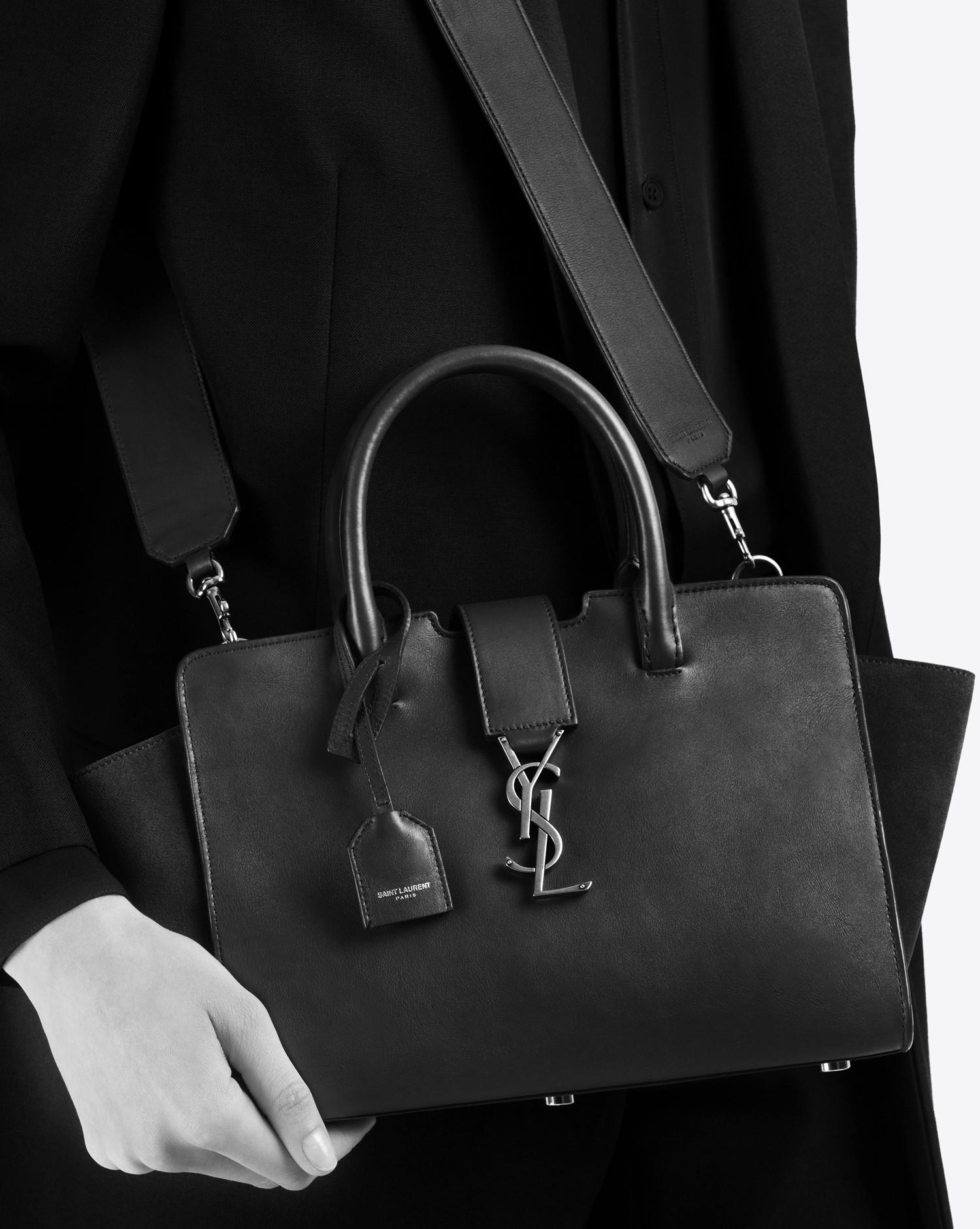 Lyst - Saint Laurent Baby Monogram Downtown Cabas Bag In Ultramarine ... 937fcfdd719b3