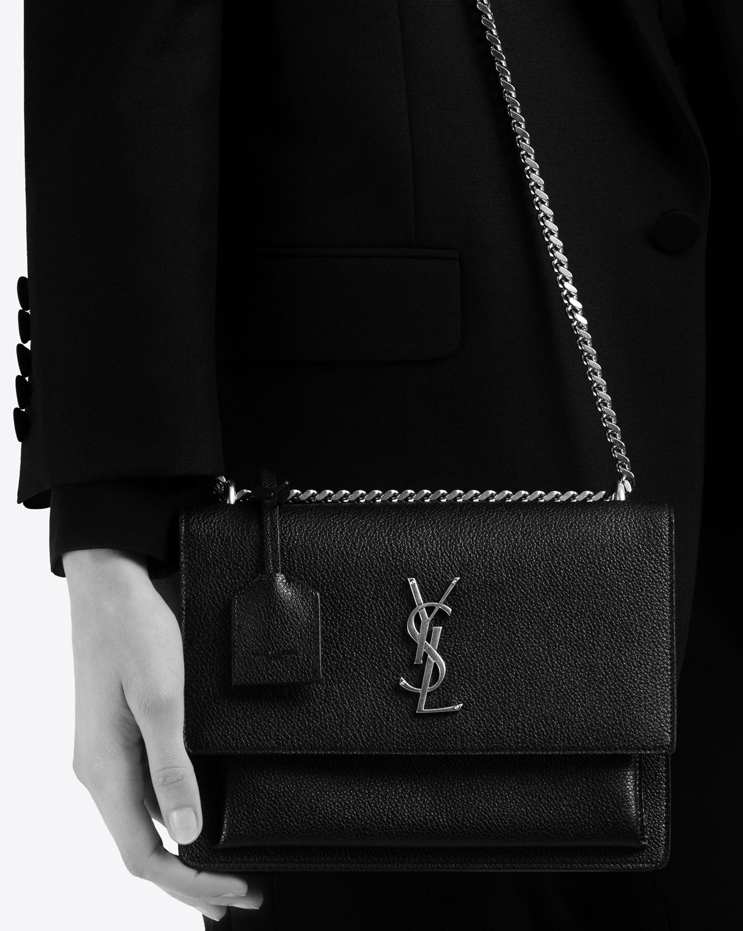 Lyst - Saint Laurent Medium Sunset Monogram Bag In Black Grained ... d4765798ba23a