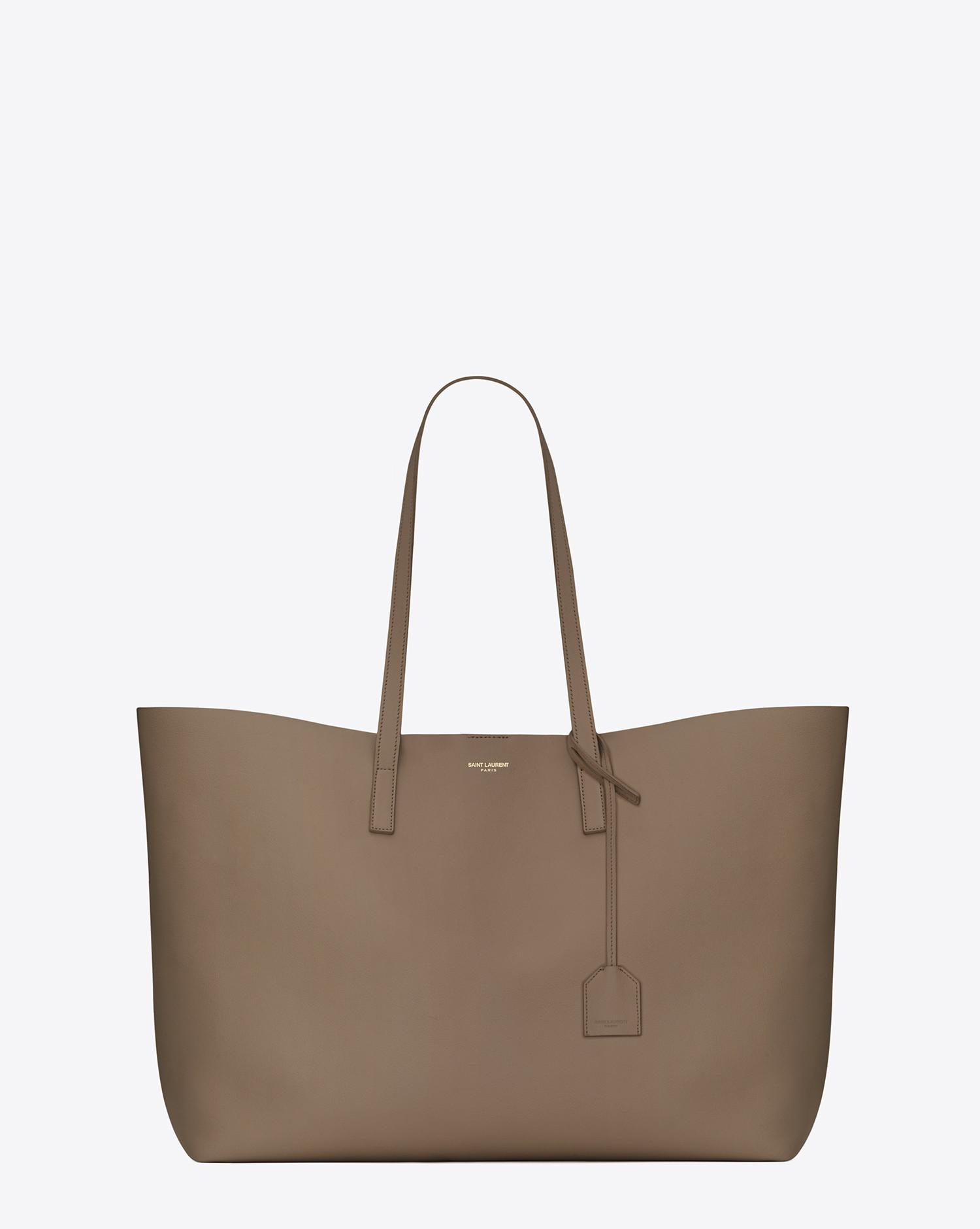 Saint laurent Shopping Tote Bag In Taupe Leather in Gray | Lyst