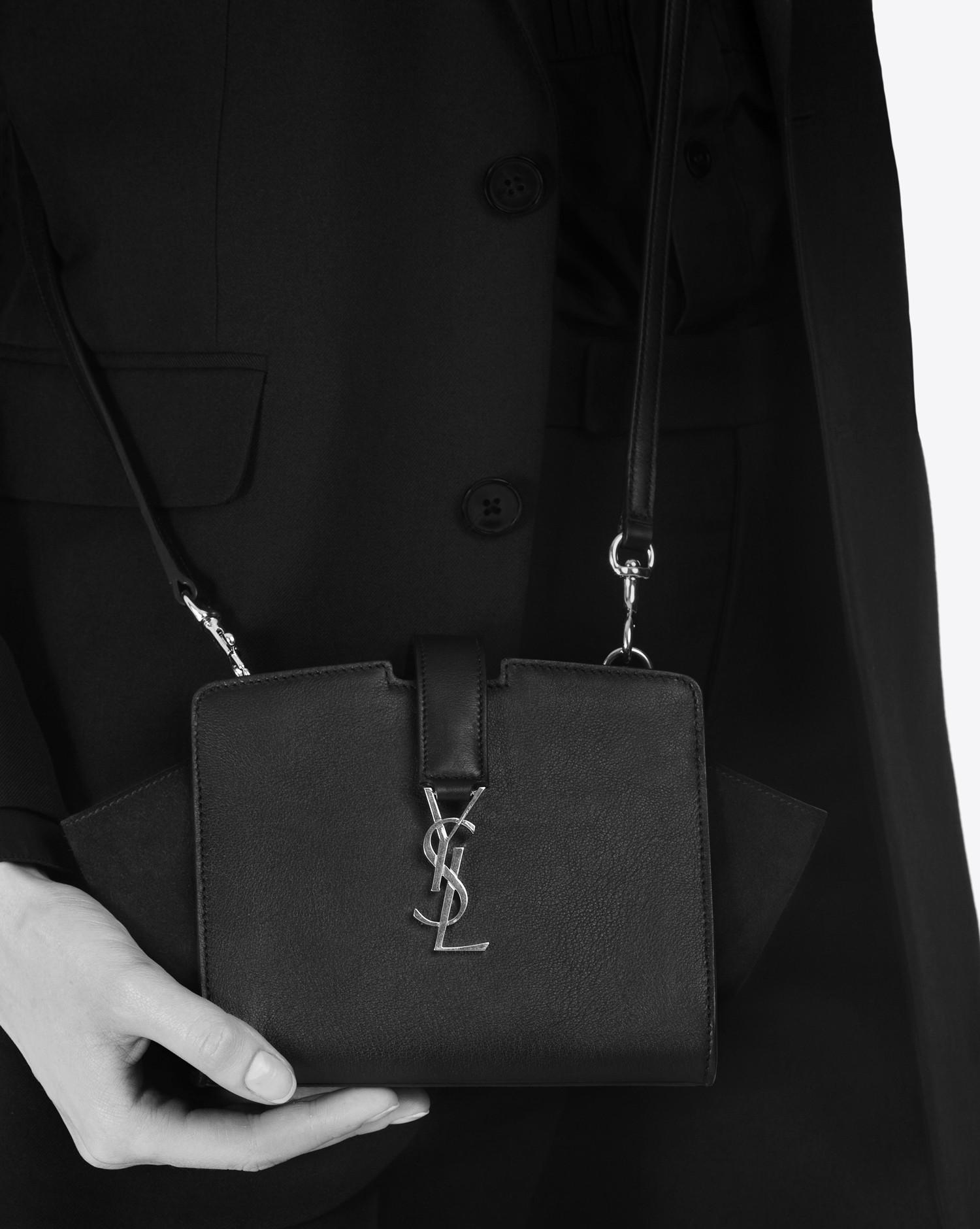 7760aea12286 Lyst - Saint Laurent Toy Ysl Cabas Bag In Pearl Grey Leather