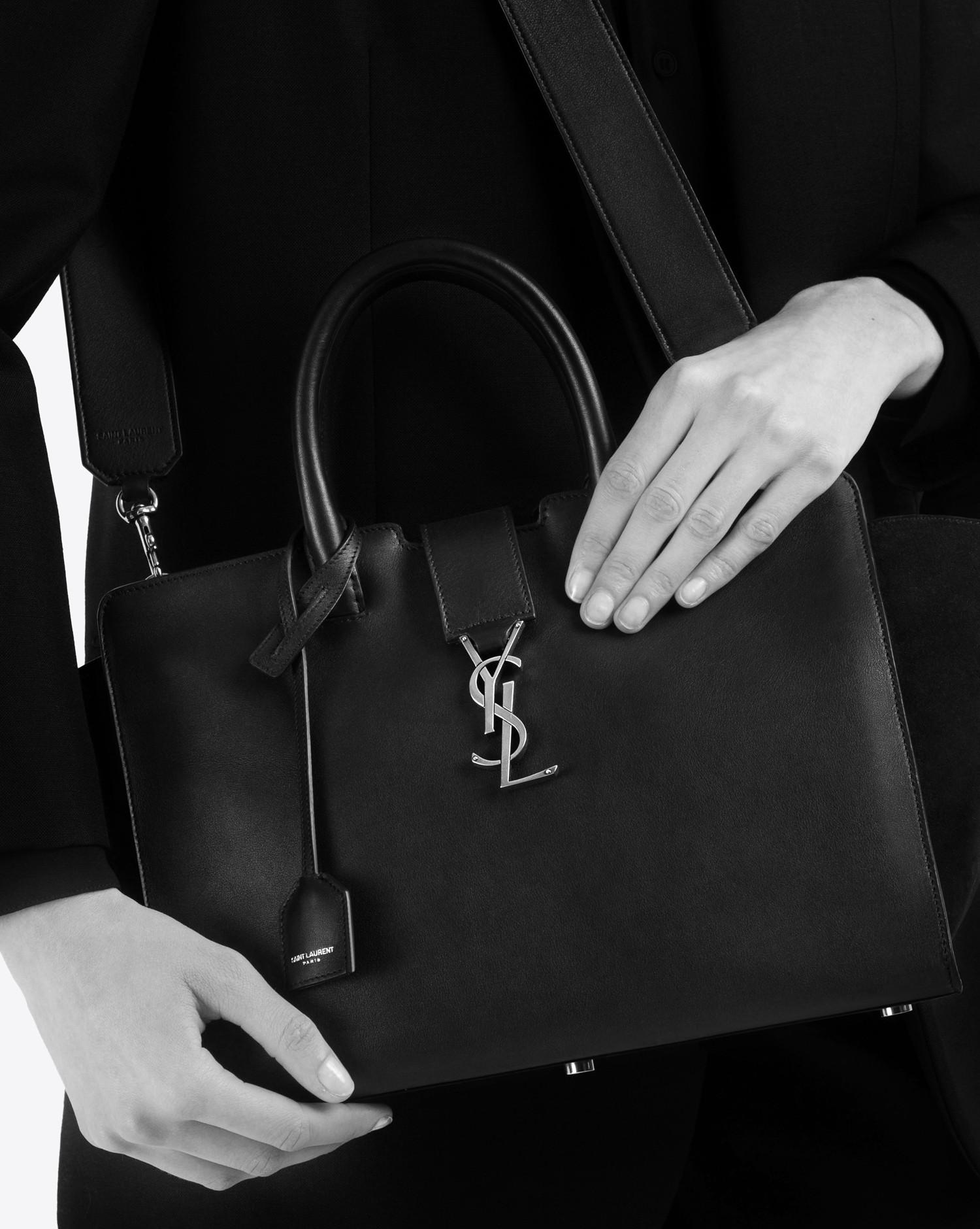 fc3e8700bb Lyst - Saint Laurent Small Monogram Downtown Cabas Ysl Bag In Dark ...