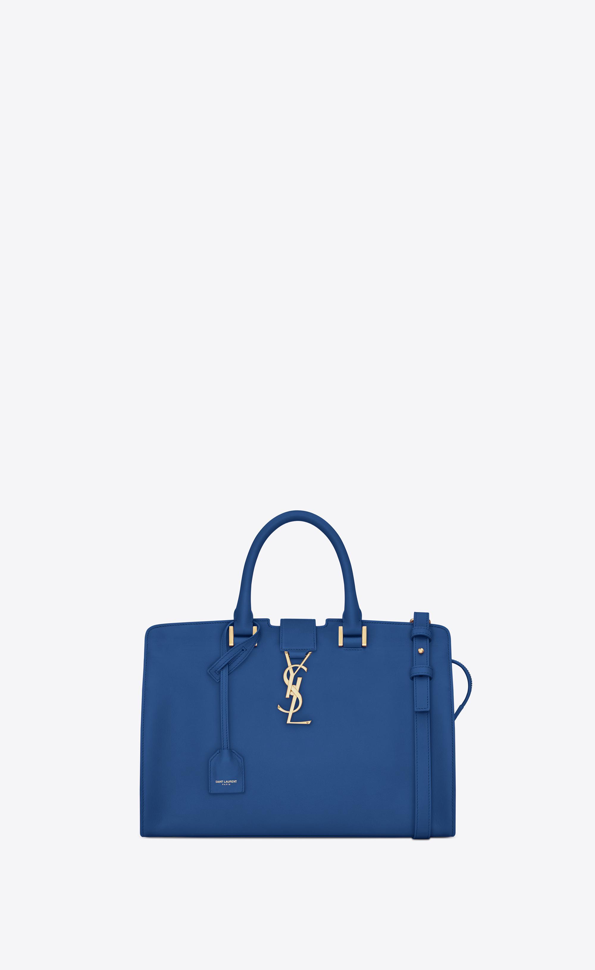 f7c6da95e45 Saint Laurent Small Monogram Cabas Bag In Royal Blue Leather in Blue ...