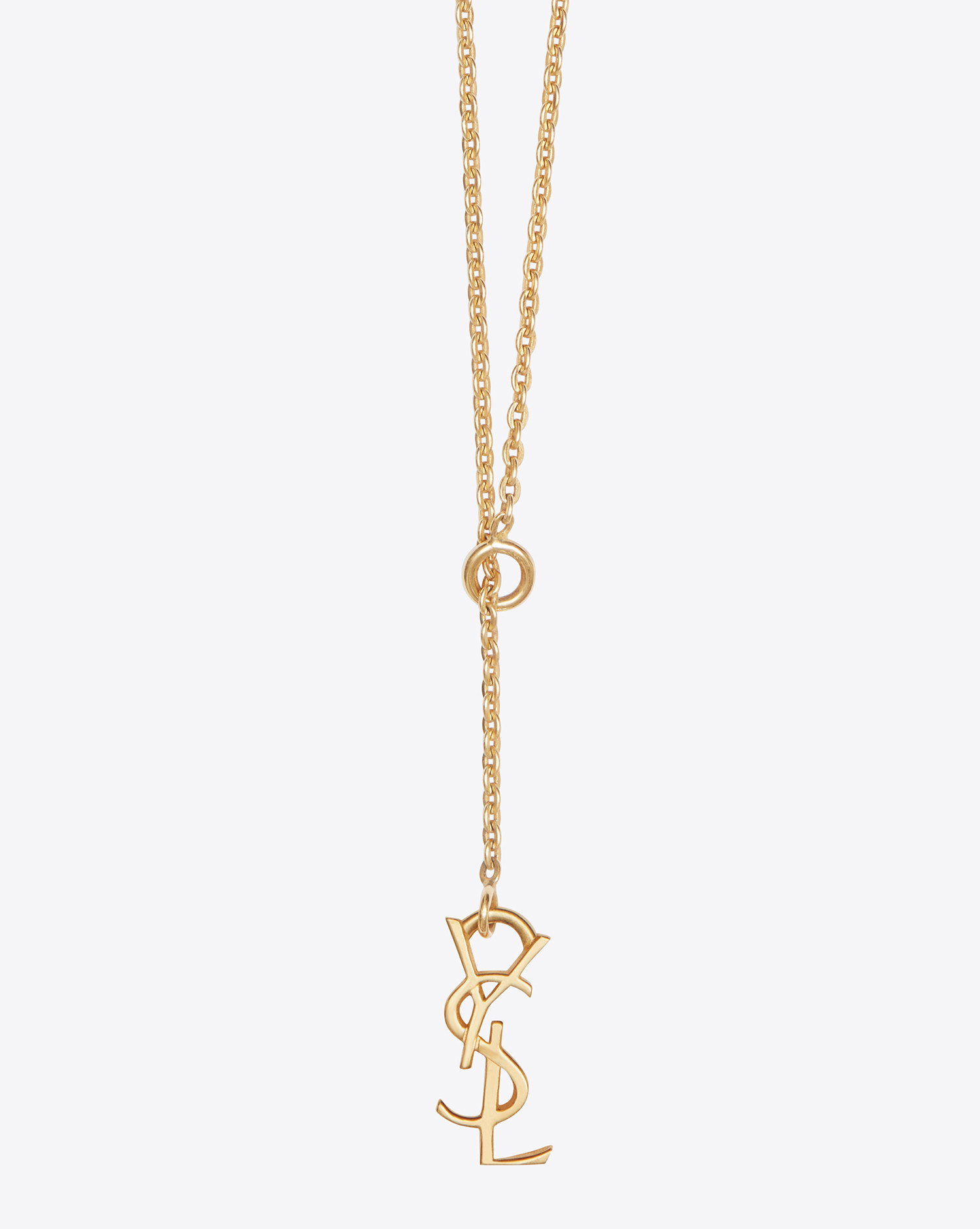 aec47b13c0d Saint Laurent Monogram Thin Tie Necklace In Gold Vermeil in Metallic ...