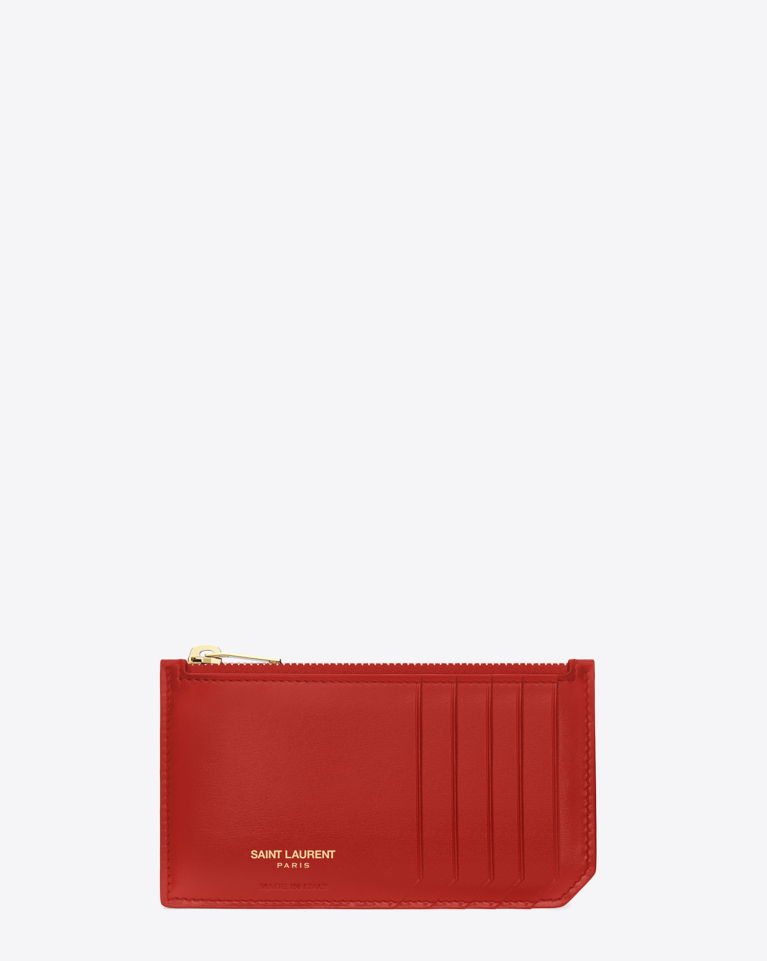 a1ebf840d83 Saint Laurent Classic Paris 5 Fragments Zip Pouch In Red Leather in ...