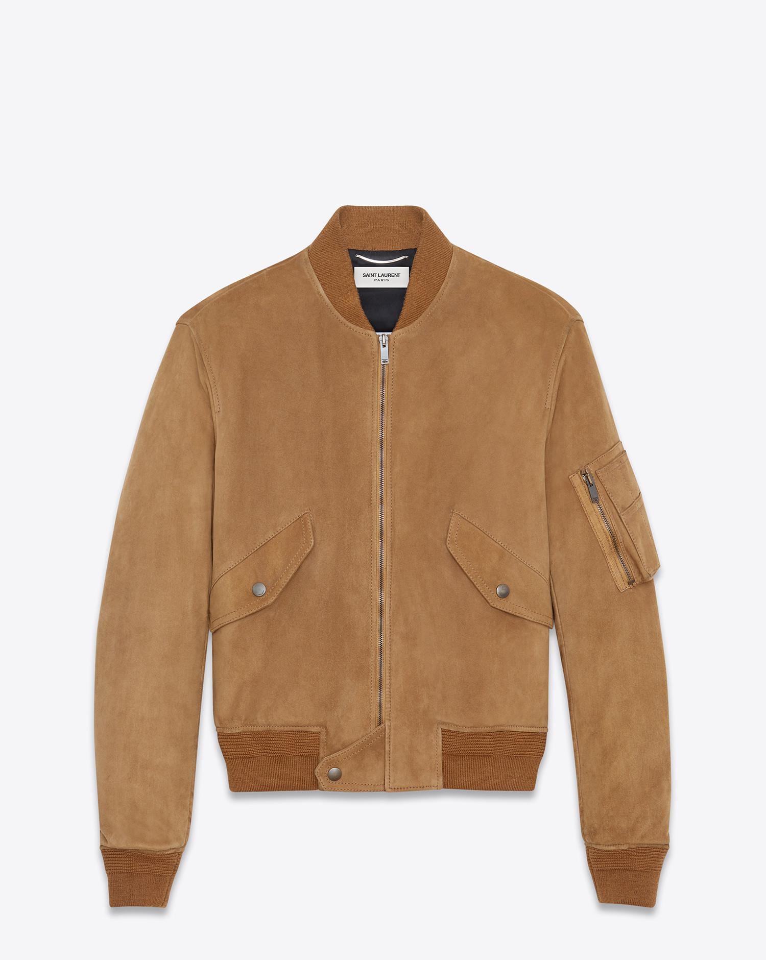 e3ee58437f6 Lyst - Saint Laurent Leather Jacket in Brown for Men