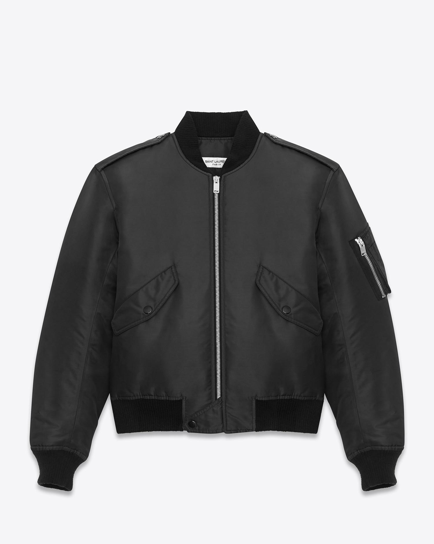 Lyst - Saint laurent Classic Bomber Jacket In Black Nylon in Black ...