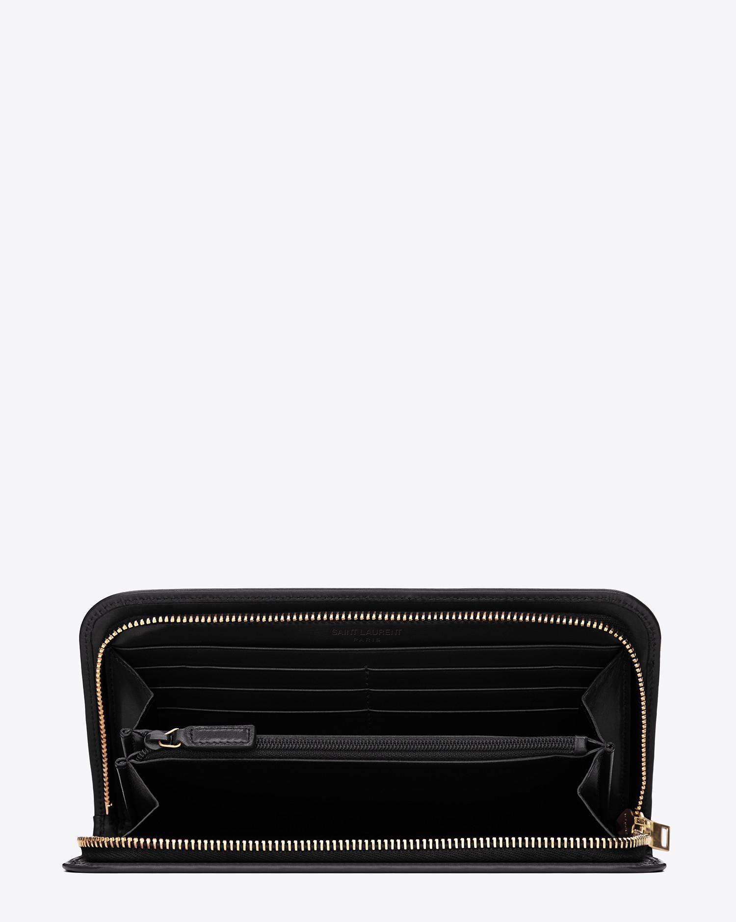 f30979c87f66 Lyst - Saint Laurent Paris Zip Around Wallet In Black Leather in Black