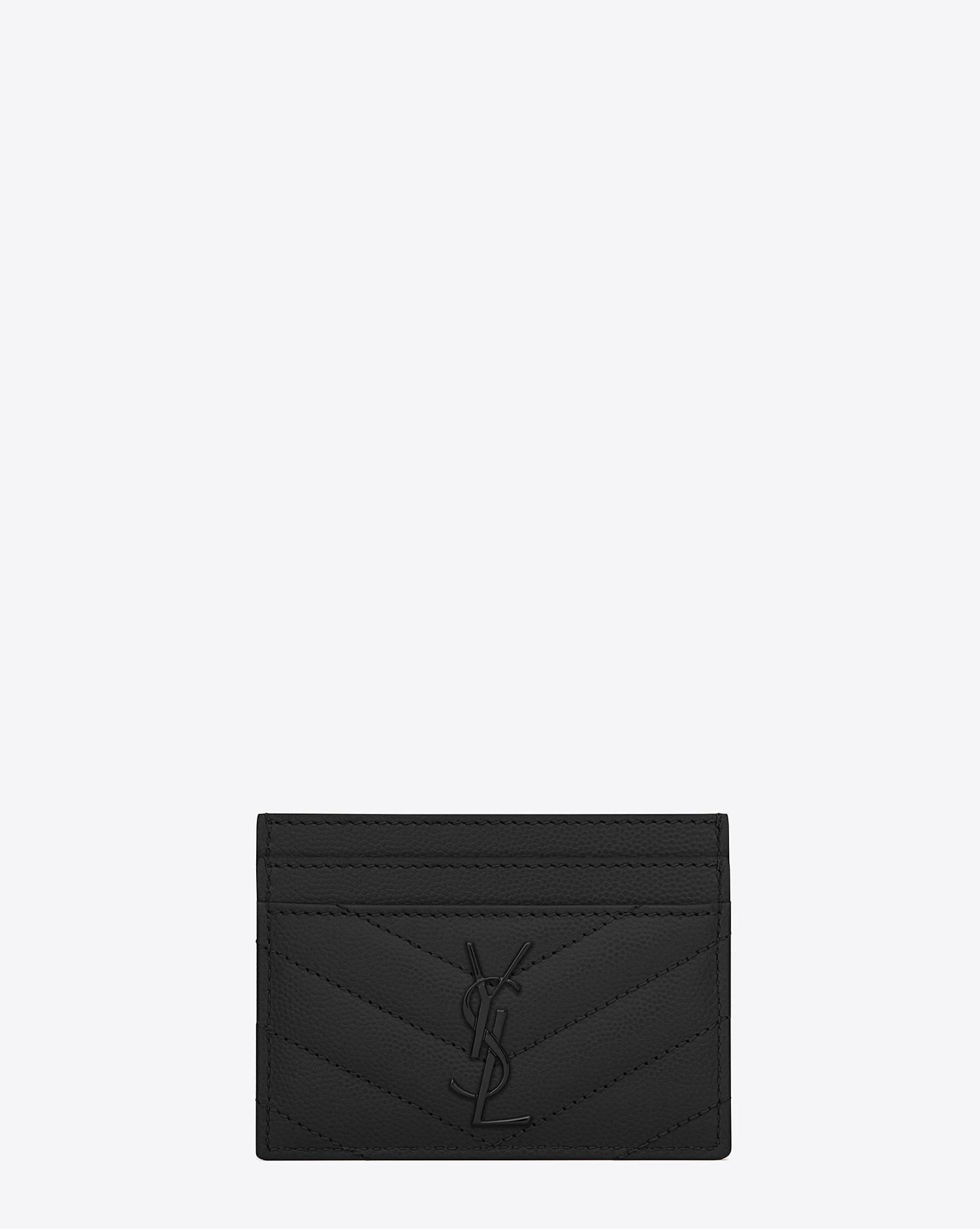 saint laurent womens black monogram matelass leather credit card case - Monogram Card Holder