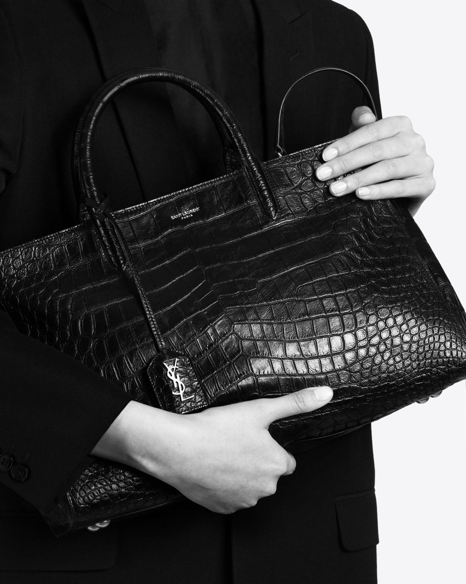 f40abc357d Lyst - Saint Laurent Medium Cabas Rive Gauche Bag In Black Crocodile ...