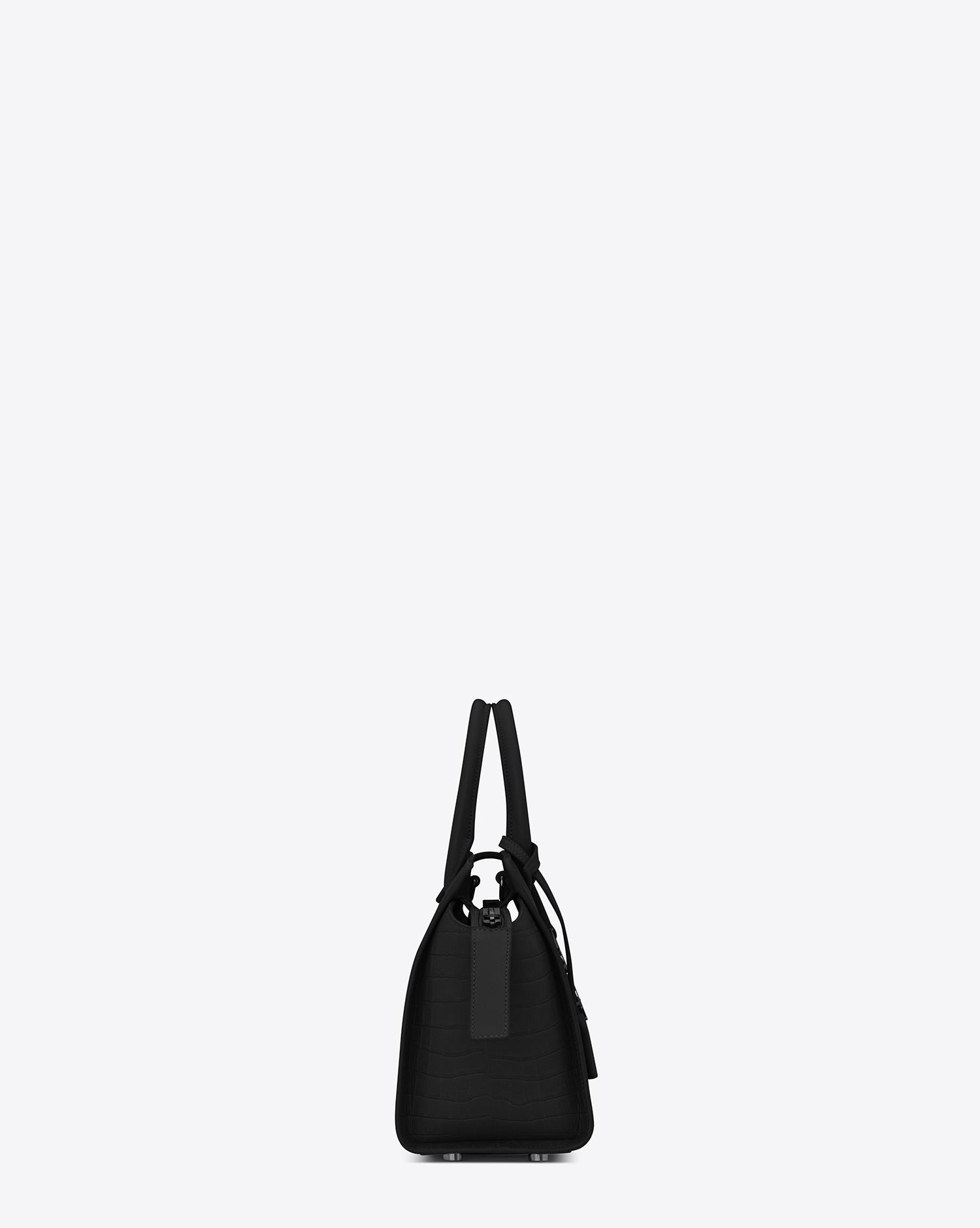 7fb4775fff2f Lyst - Saint Laurent Baby Monogram Downtown Cabas Leather Tote Bag in Black