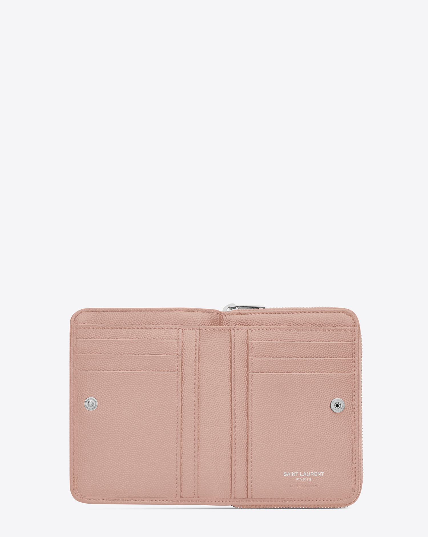 a07a5f97d31bf Lyst - Saint Laurent Monogram Compact Zip Around Wallet In Grain De Poudre  Embossed Leather in Pink