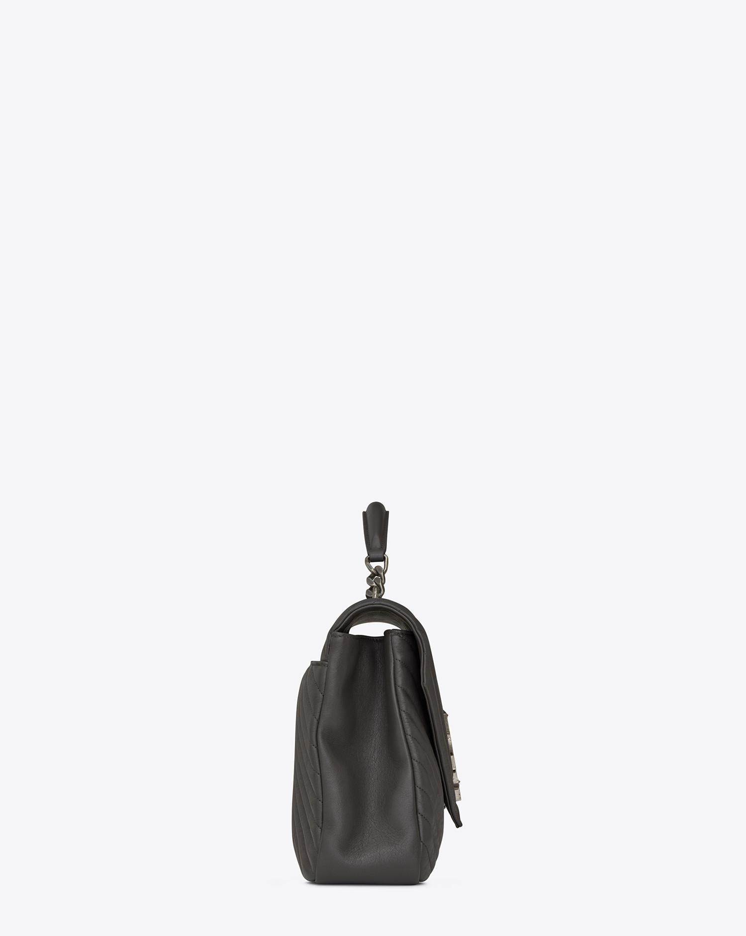 536ccbd00349 Lyst - Saint Laurent College Large In Matelassé Leather in Gray