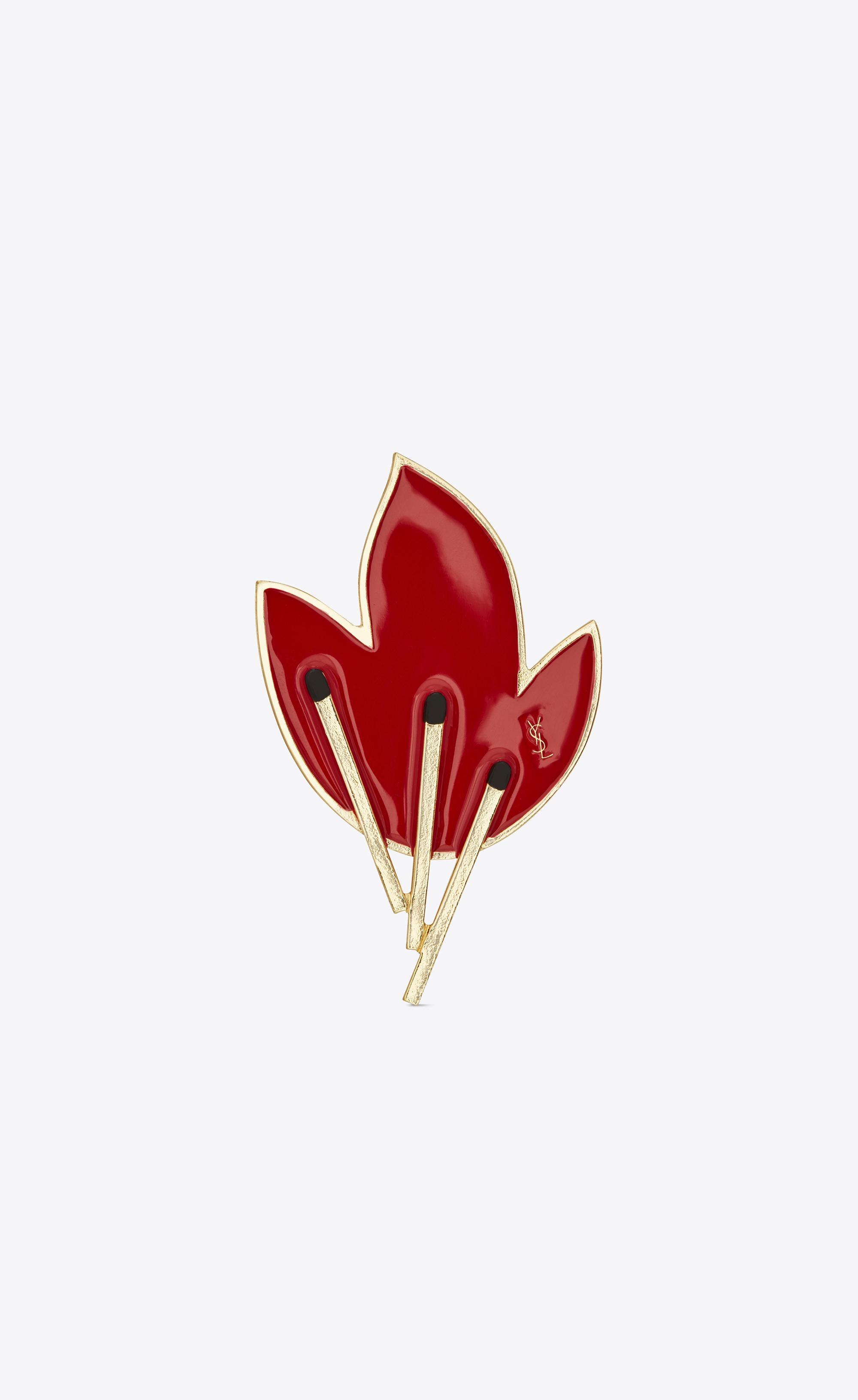 f38f71ea2 Lyst - Saint Laurent Flame Brooch In Gold-toned Brass And Red And ...