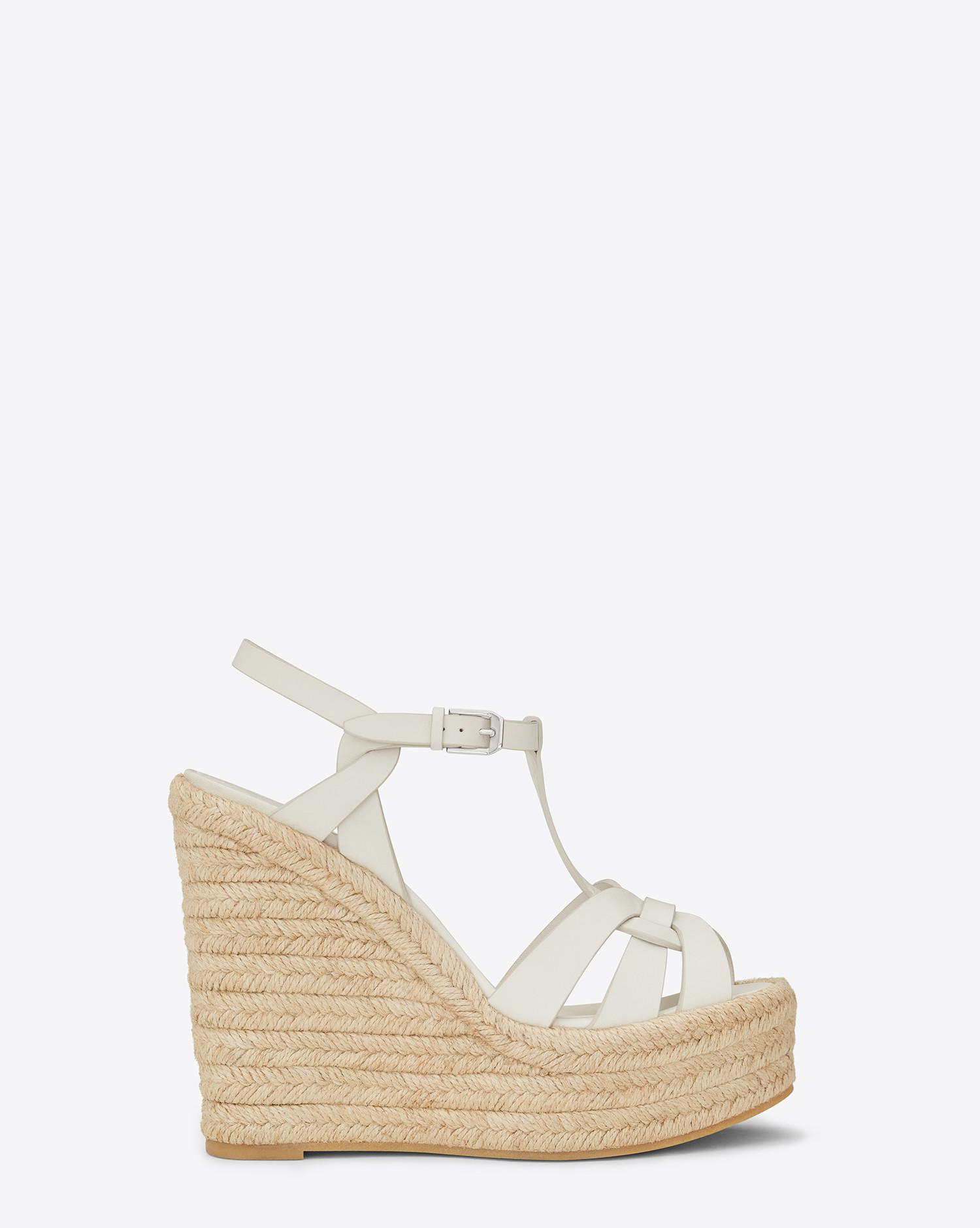 3ef9b17ebc5 Saint Laurent Espadrille Wedge Sandal In Leather in White - Lyst