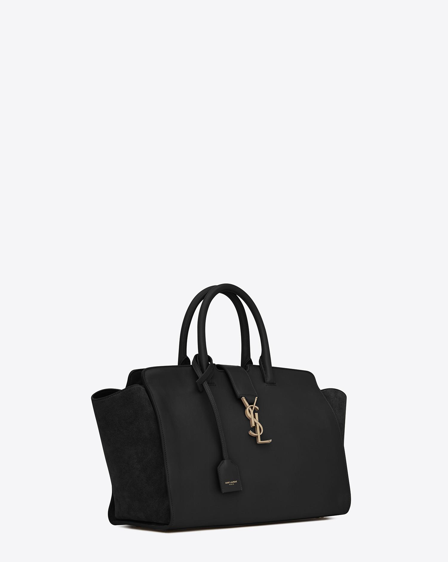 Saint Laurent. Women s Small Monogram Downtown Cabas Leather And Suede Tote  Bag acf8f9c99f047