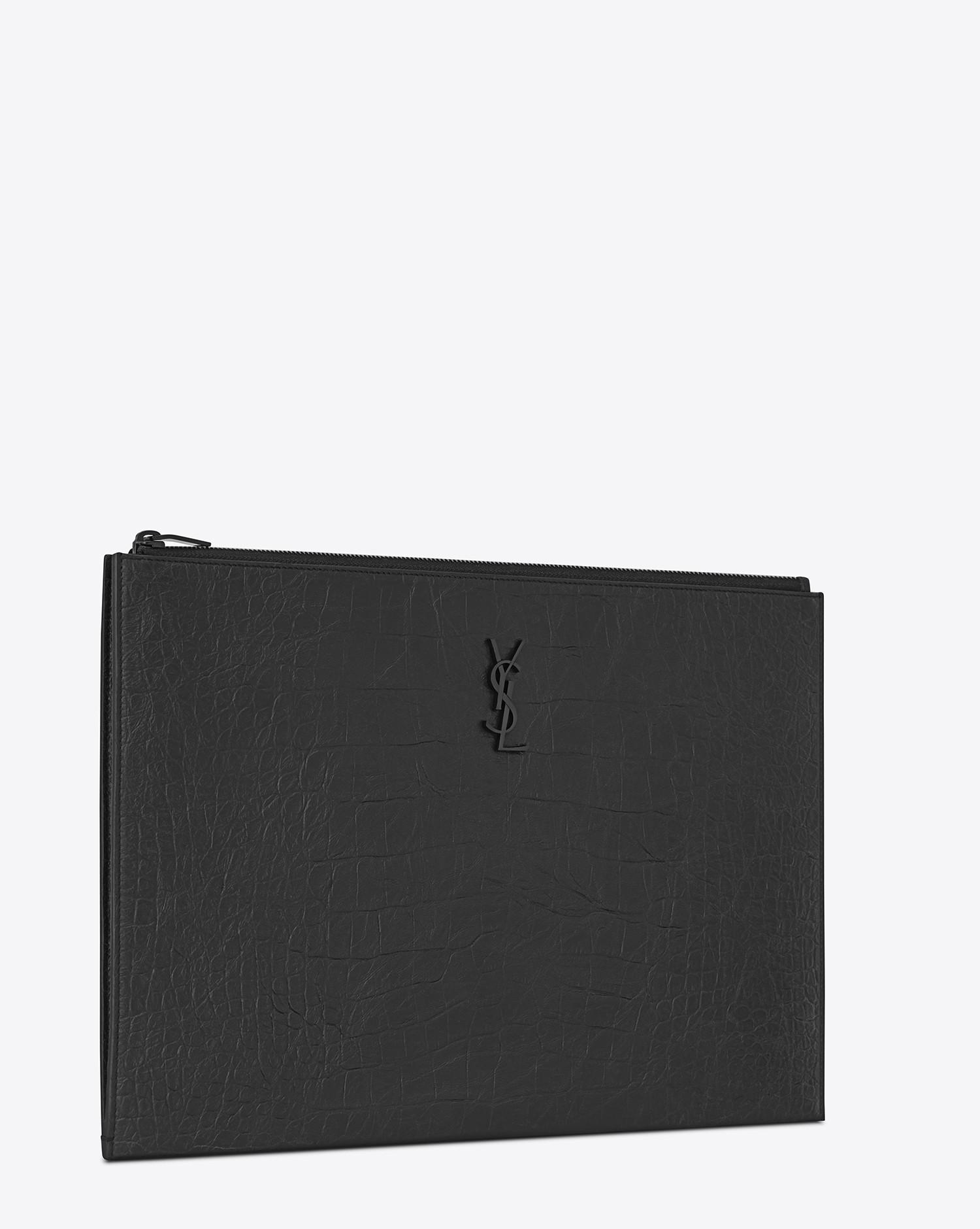 d059c8c15e3 Lyst - Saint Laurent Monogram Document Holder In Crocodile Embossed Leather  in Black for Men