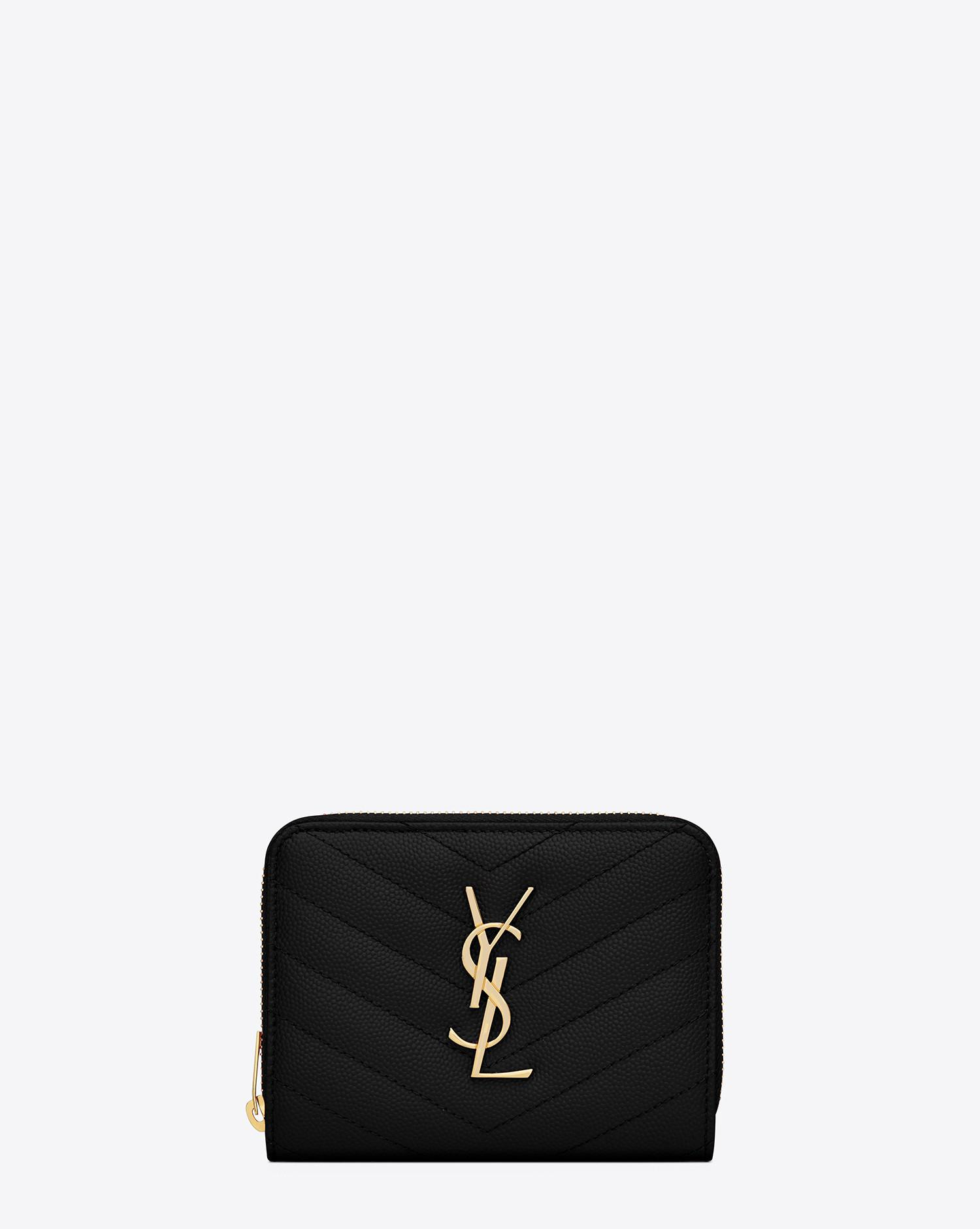 Saint Laurent - Black Monogram Compact Zip Around Wallet In Grain De Poudre  Embossed Leather -. View fullscreen 6ae5b35a08f7e