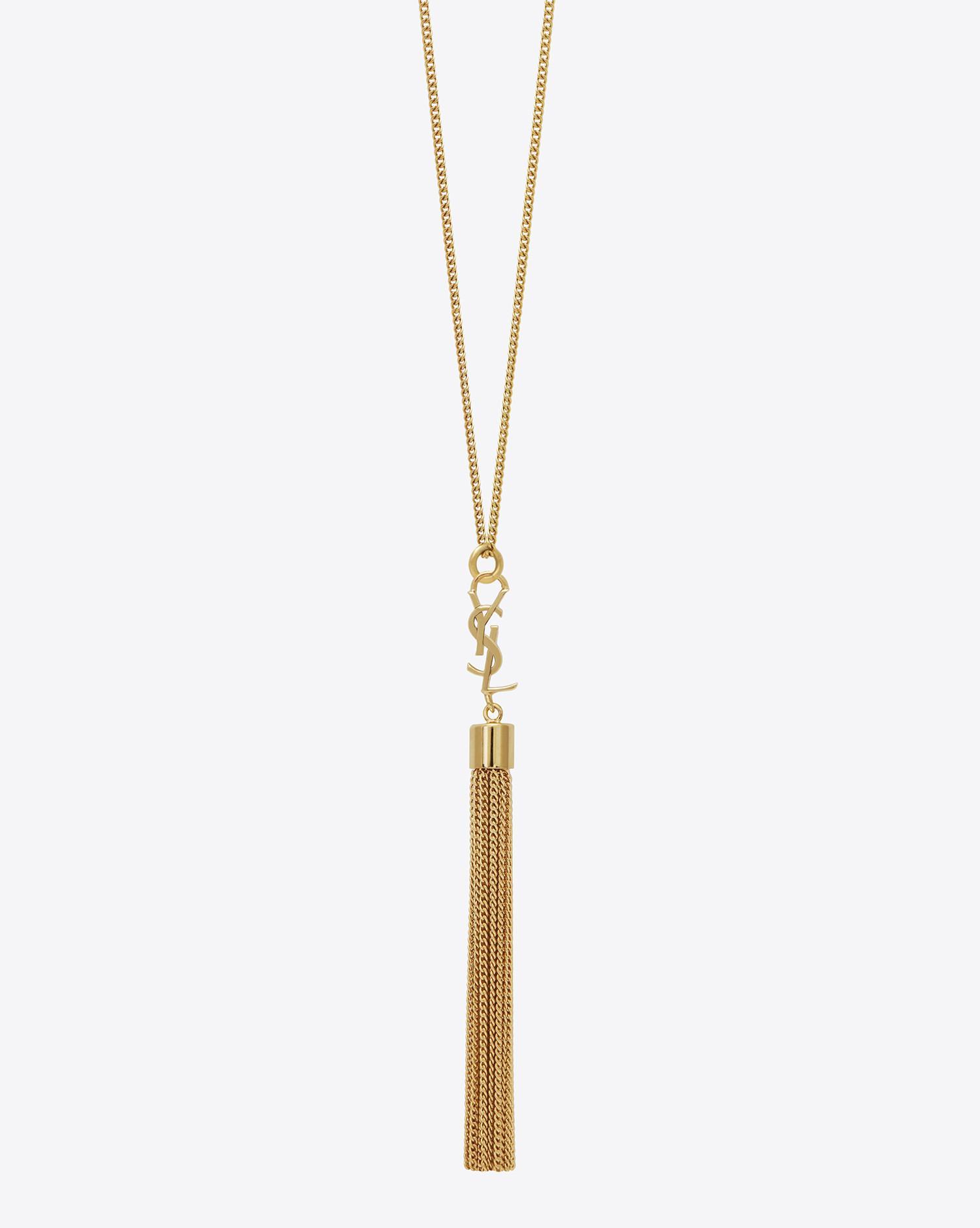 f91aeb4f2b8219 Saint Laurent Mini Tassel Necklace In Gold Brass in Metallic - Lyst