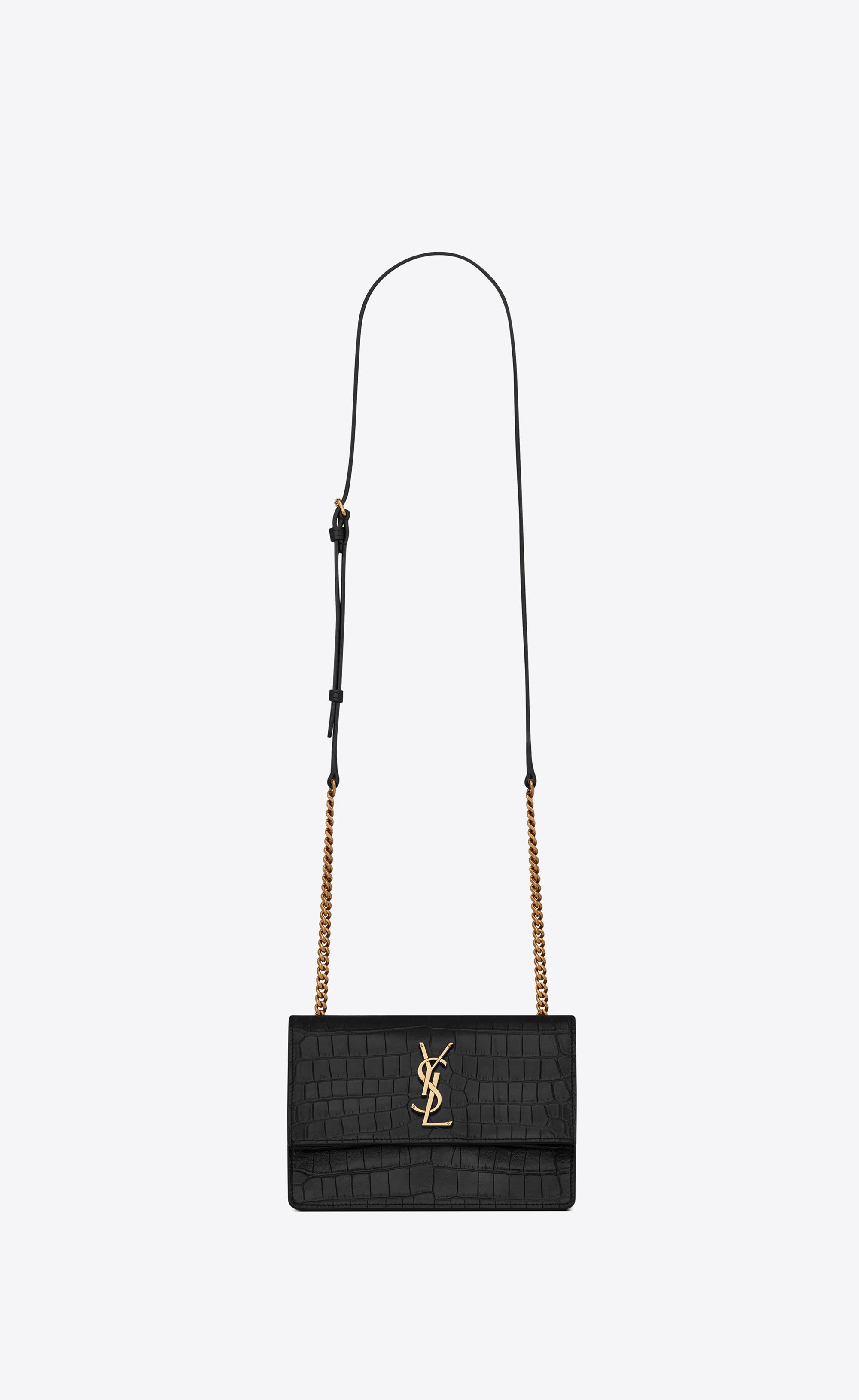 7b06856b59 Saint Laurent. Women s Black Sunset Small In Supple Crocodile Embossed  Leather