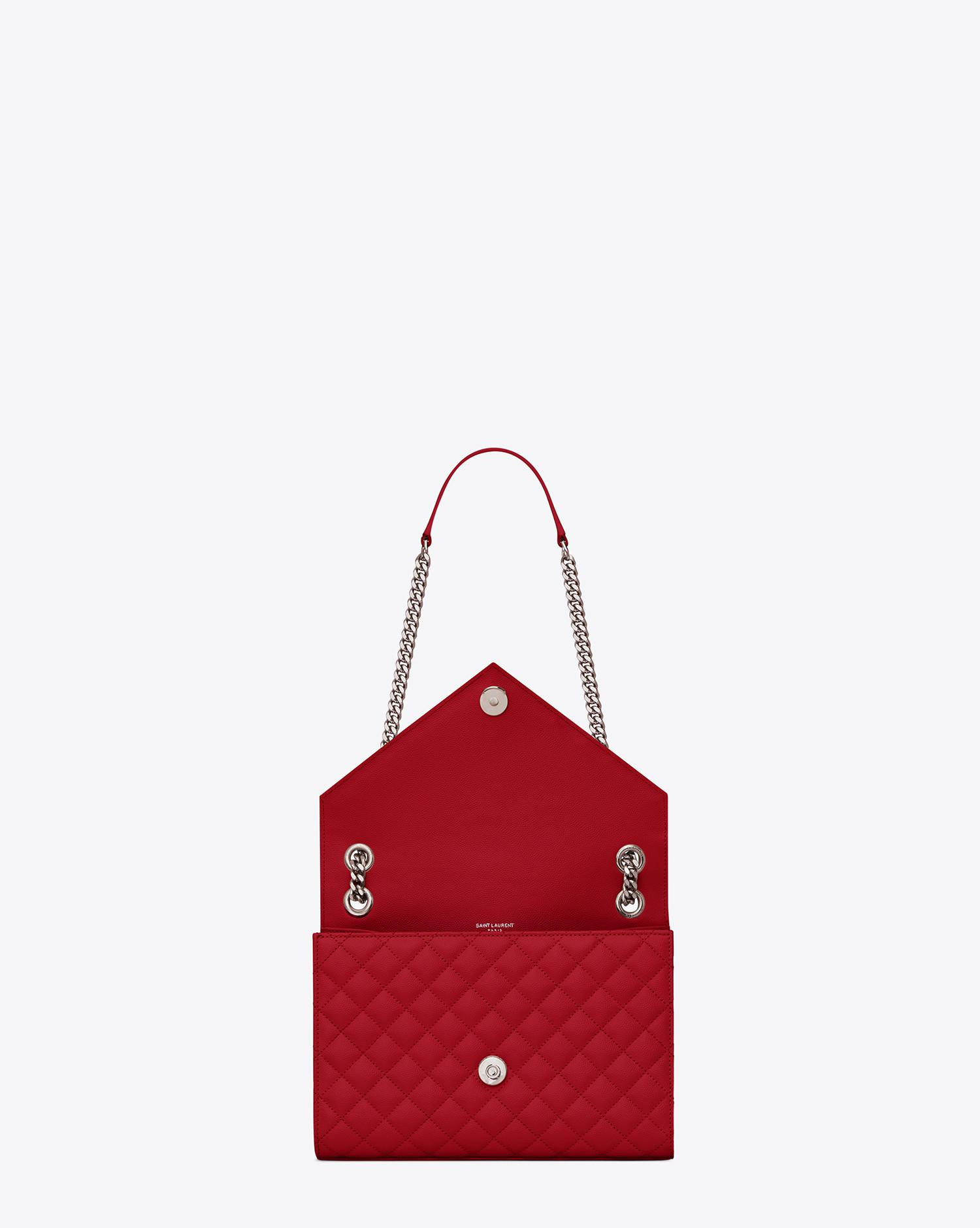 467d043115882 Saint Laurent - Red Envelope Medium Bag In Grain De Poudre Embossed Leather  - Lyst. View fullscreen